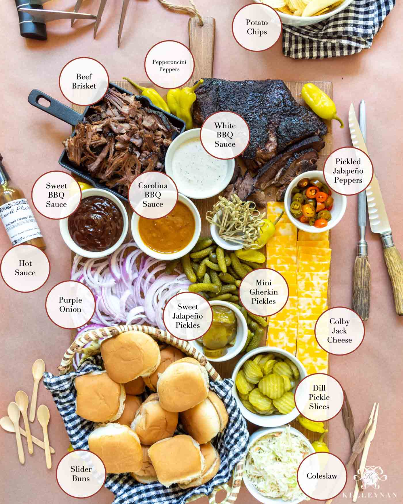 BBQ Charcuterie Board & All the Toppings for Barbecue Sliders!