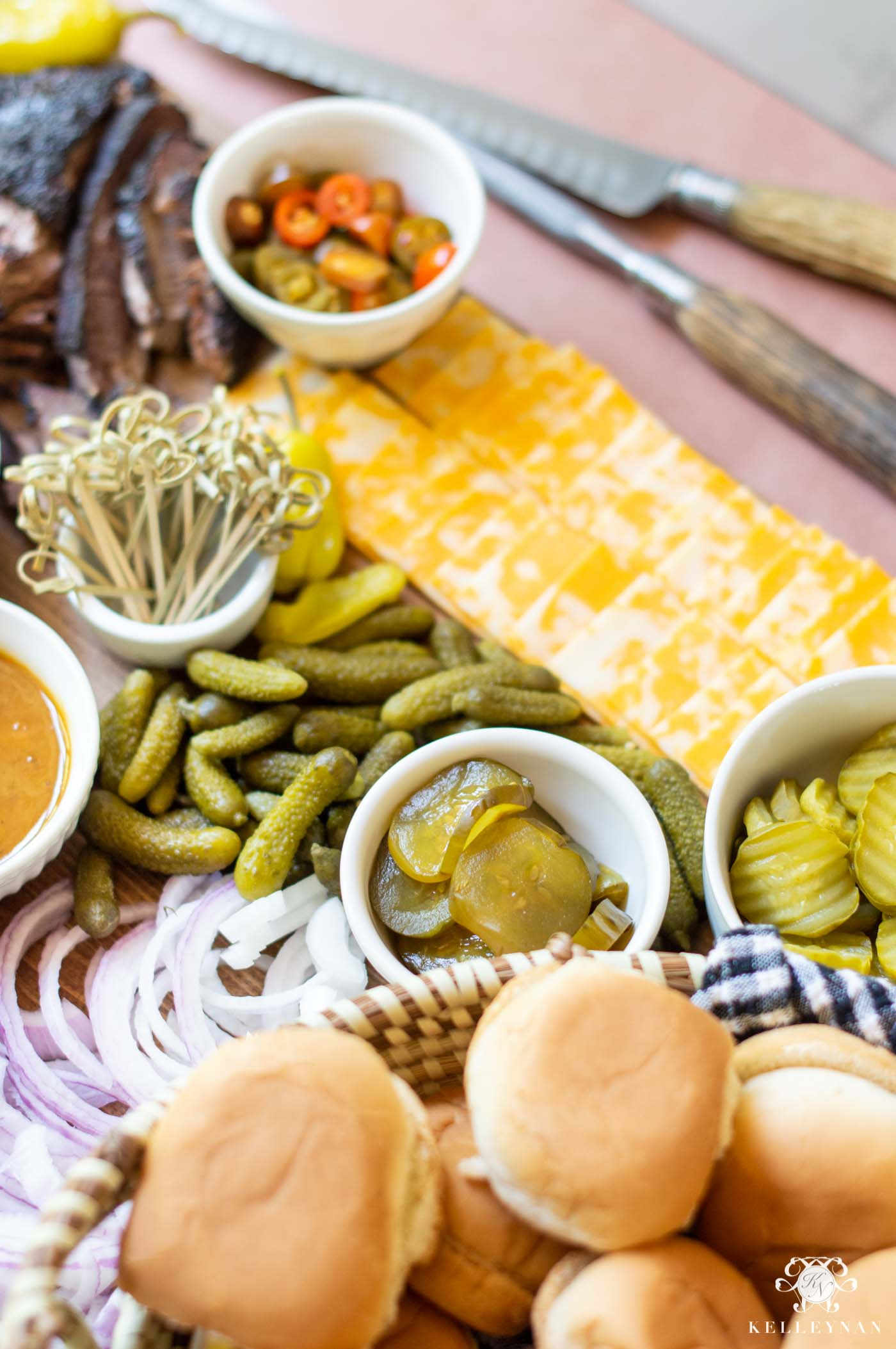 Backyard Barbecue Board with Sliders -- An Easy Charcuterie Platter