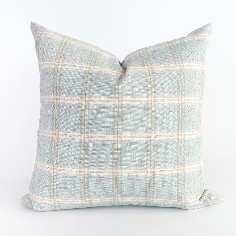Light blue green plaid pillow