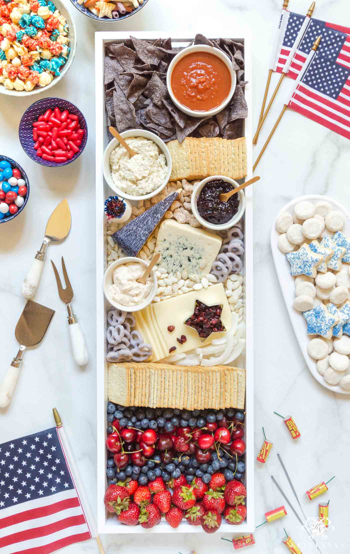 Red, White and Blue Charcuterie Cheese Board -- Fourth of July Food Ideas