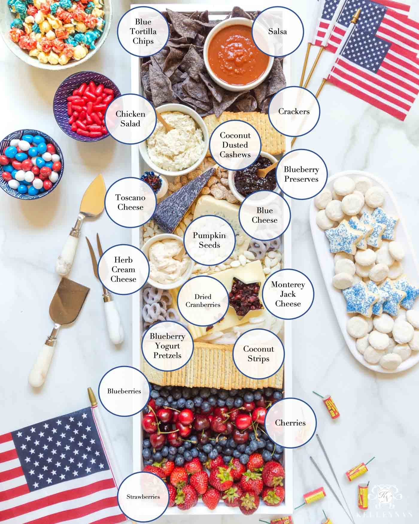 Red, White and Blue Cheese Board -- Food Ideas for the Fourth of July