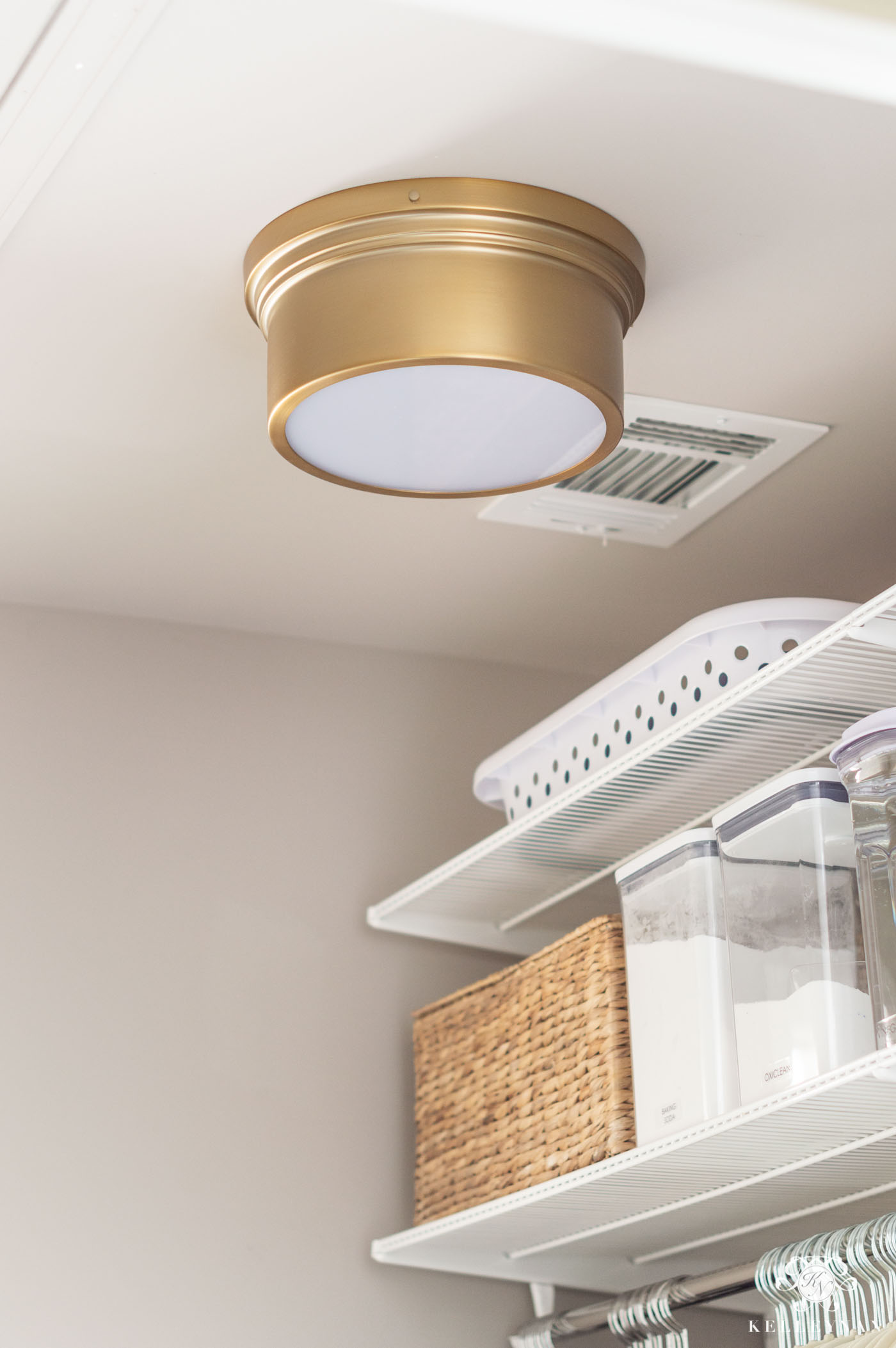 Stylish laundry room lighting -- a budget-friendly flush mount fixture