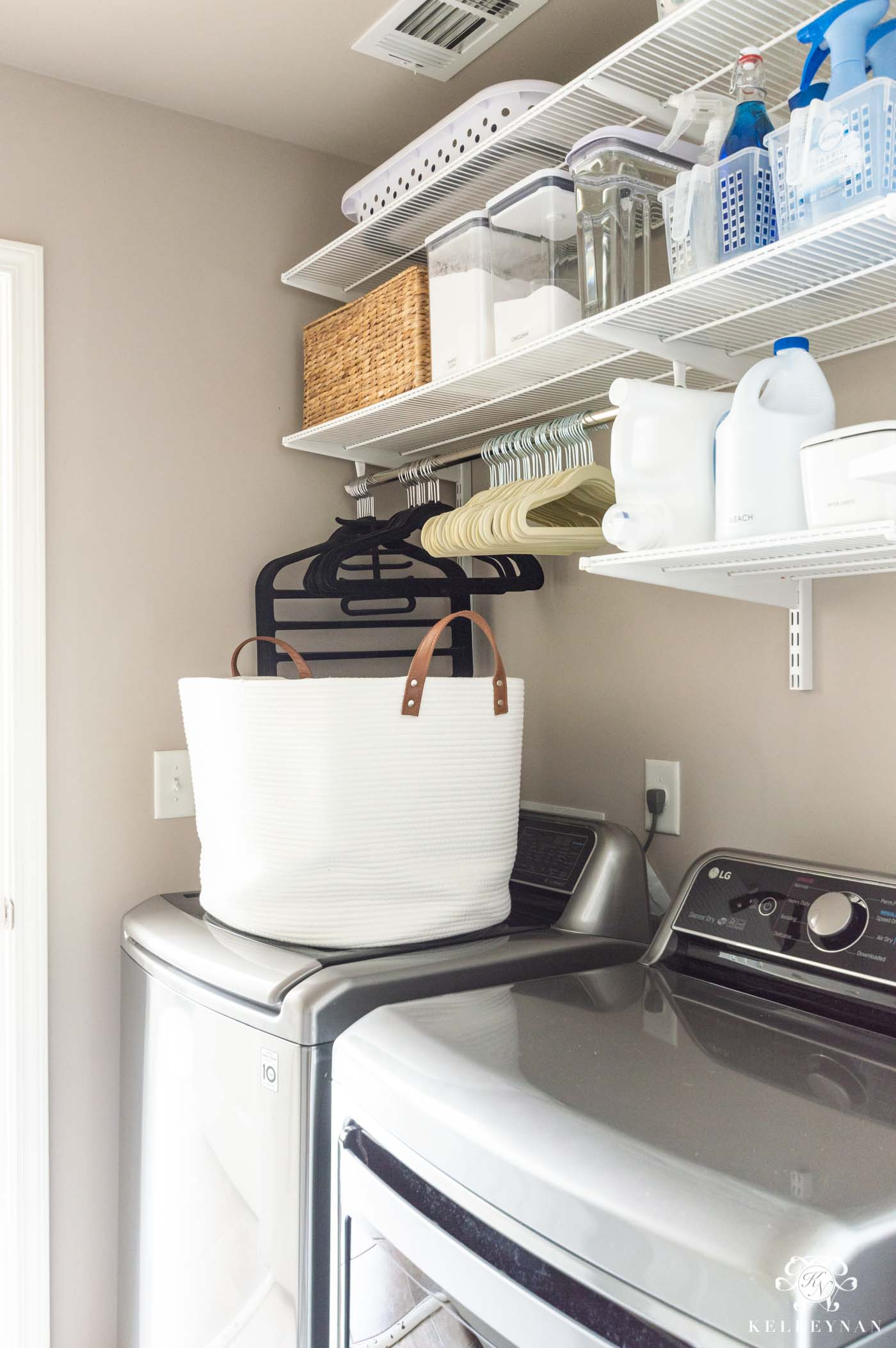 Small Laundry Room with Top Load Washer -- Get the Organization Ideas!