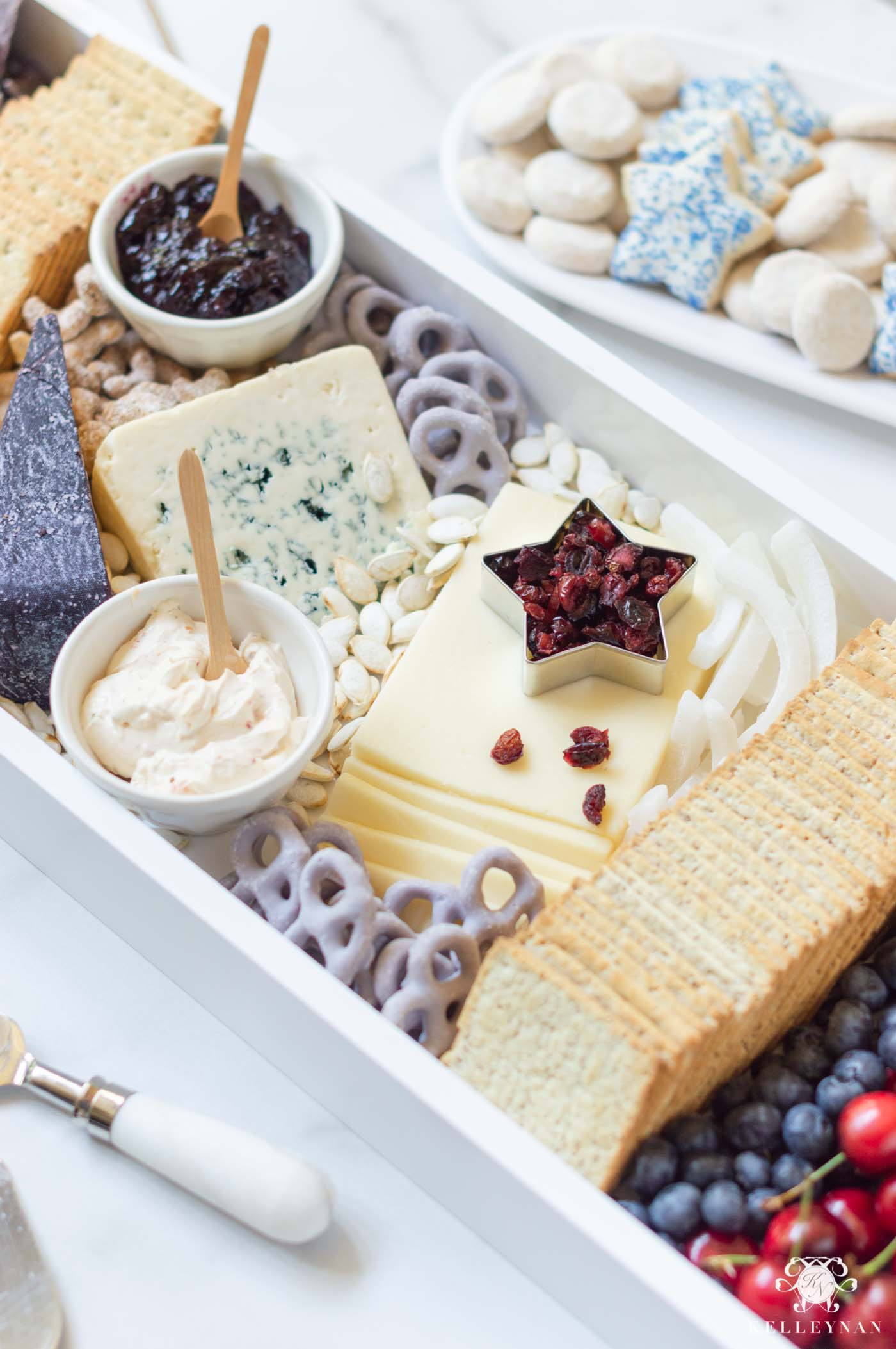 Patriotic Red, White and Blue Cheese and Fruit Board