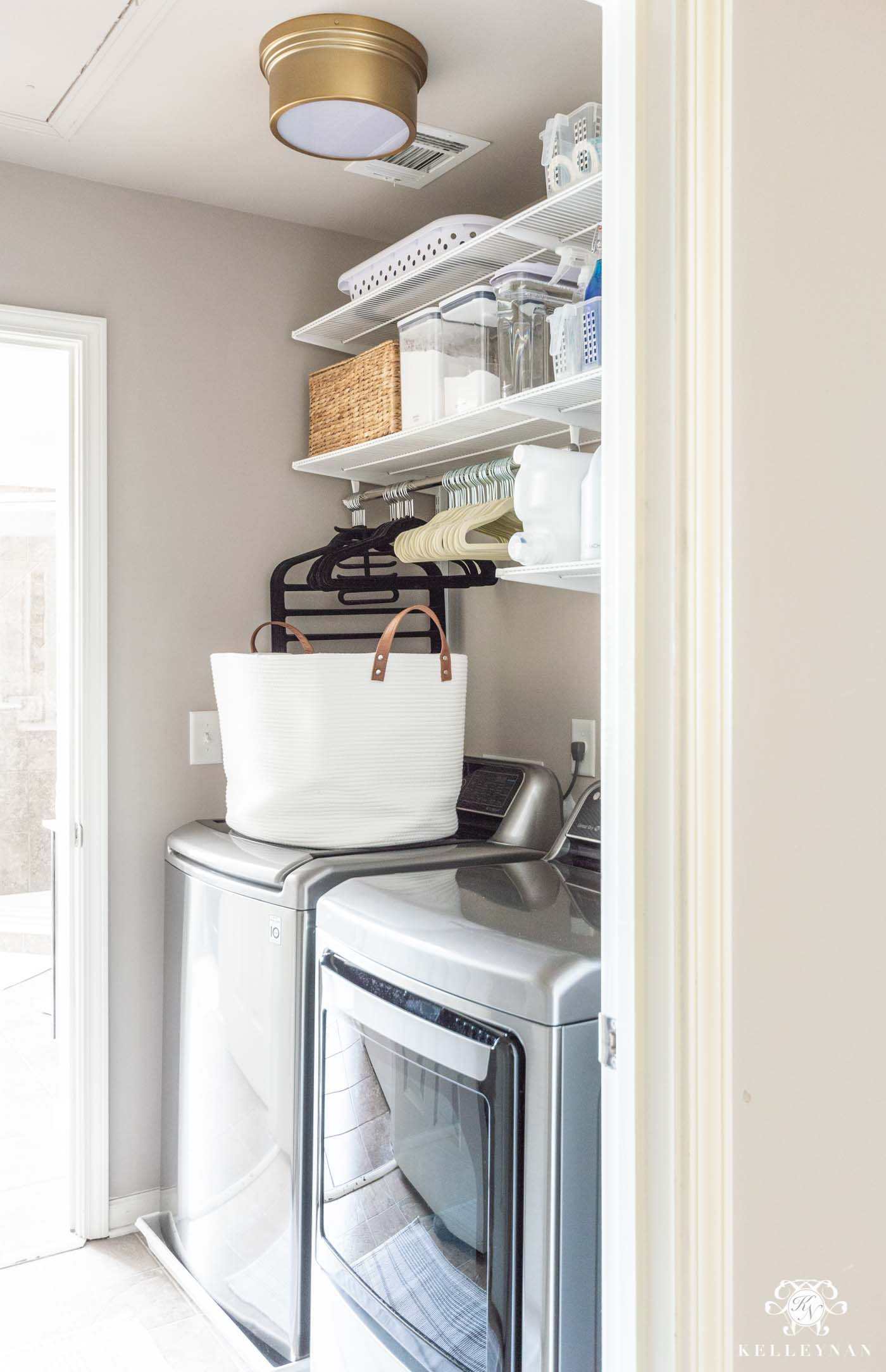 Small Laundry Room Organization Ideas and how to Maximize Storage in a Pass-Through