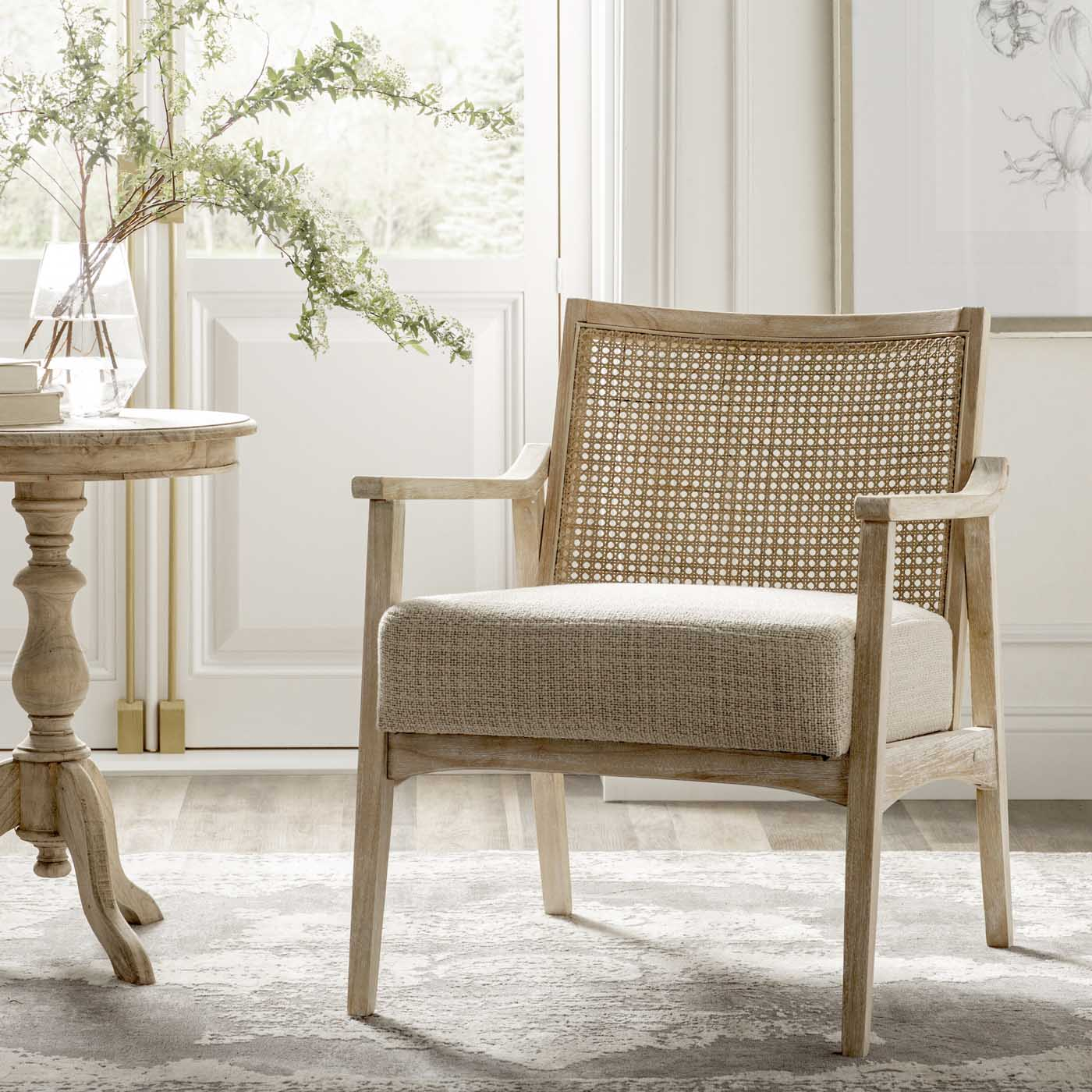 Cane Living Room Chairs -- Natural Living Room Furniture Ideas