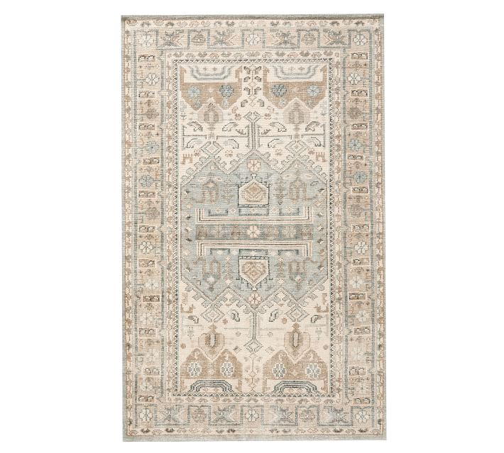 PB Hand Knotted Rug with Neutral and Blues
