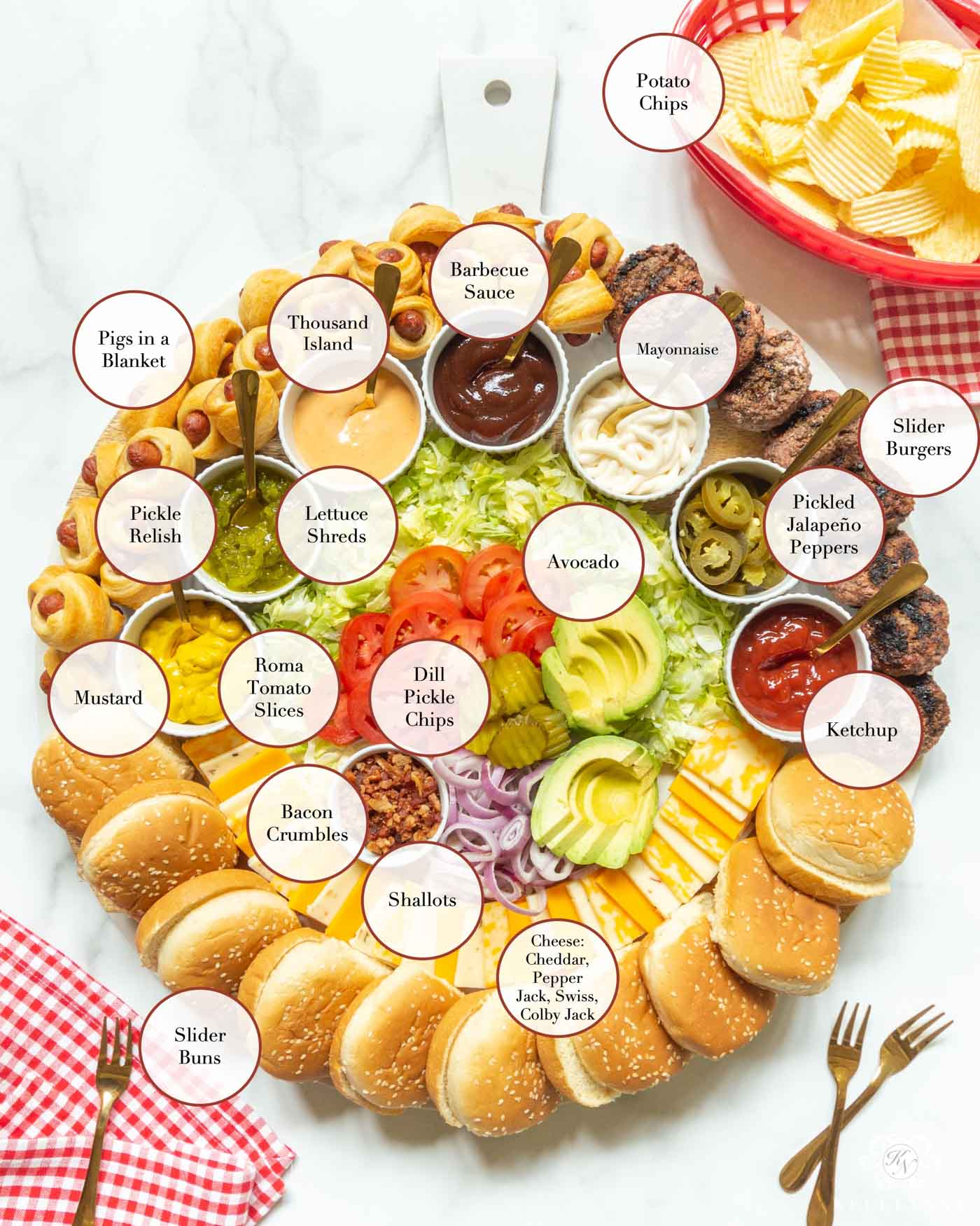 A New Charcuterie Board Concept for Your Next Cookout -- Build Your Own (Slider) Burger Bar!