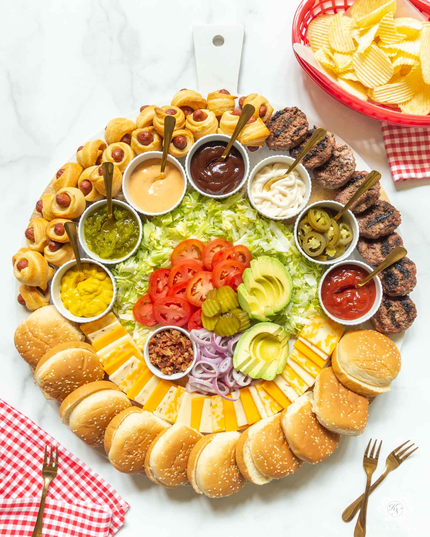 Build Your Own (Slider) Burger Bar! The Perfect Charcuterie Board for a Summer Cookout