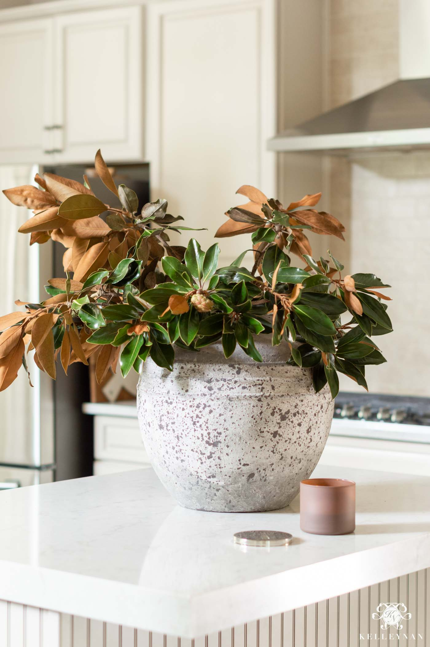 Kitchen Island Centerpiece and Beautiful Natural Fall Decor