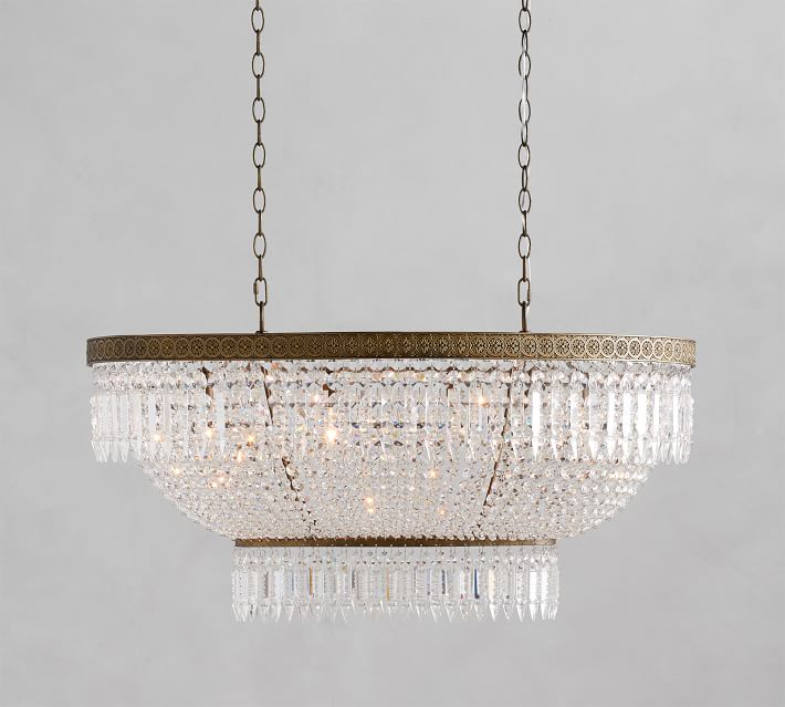 Aged Brass and Crystal Chandelier for the Dining Room