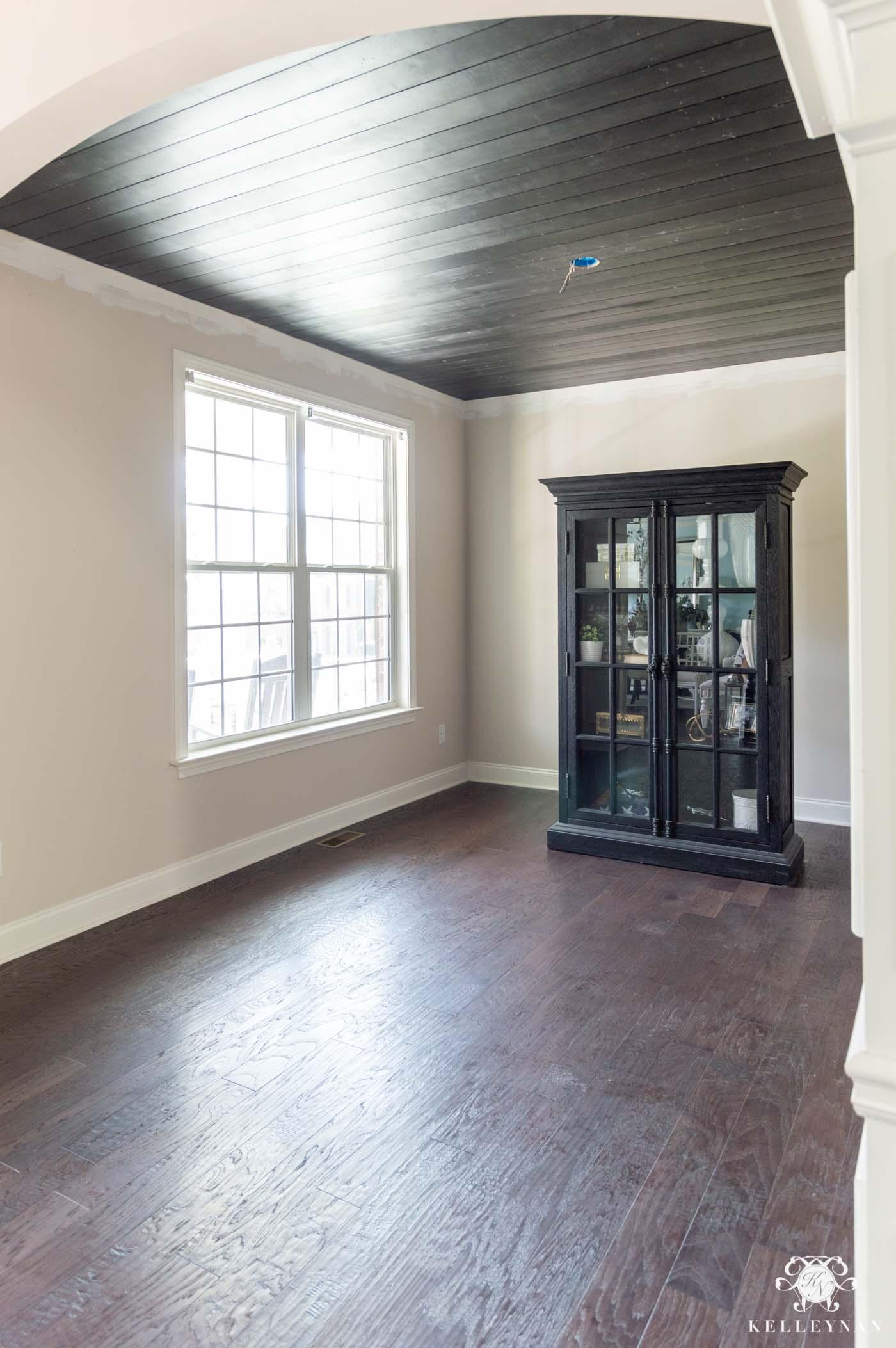 Room Makeover Progress: Black Shiplap Ceiling