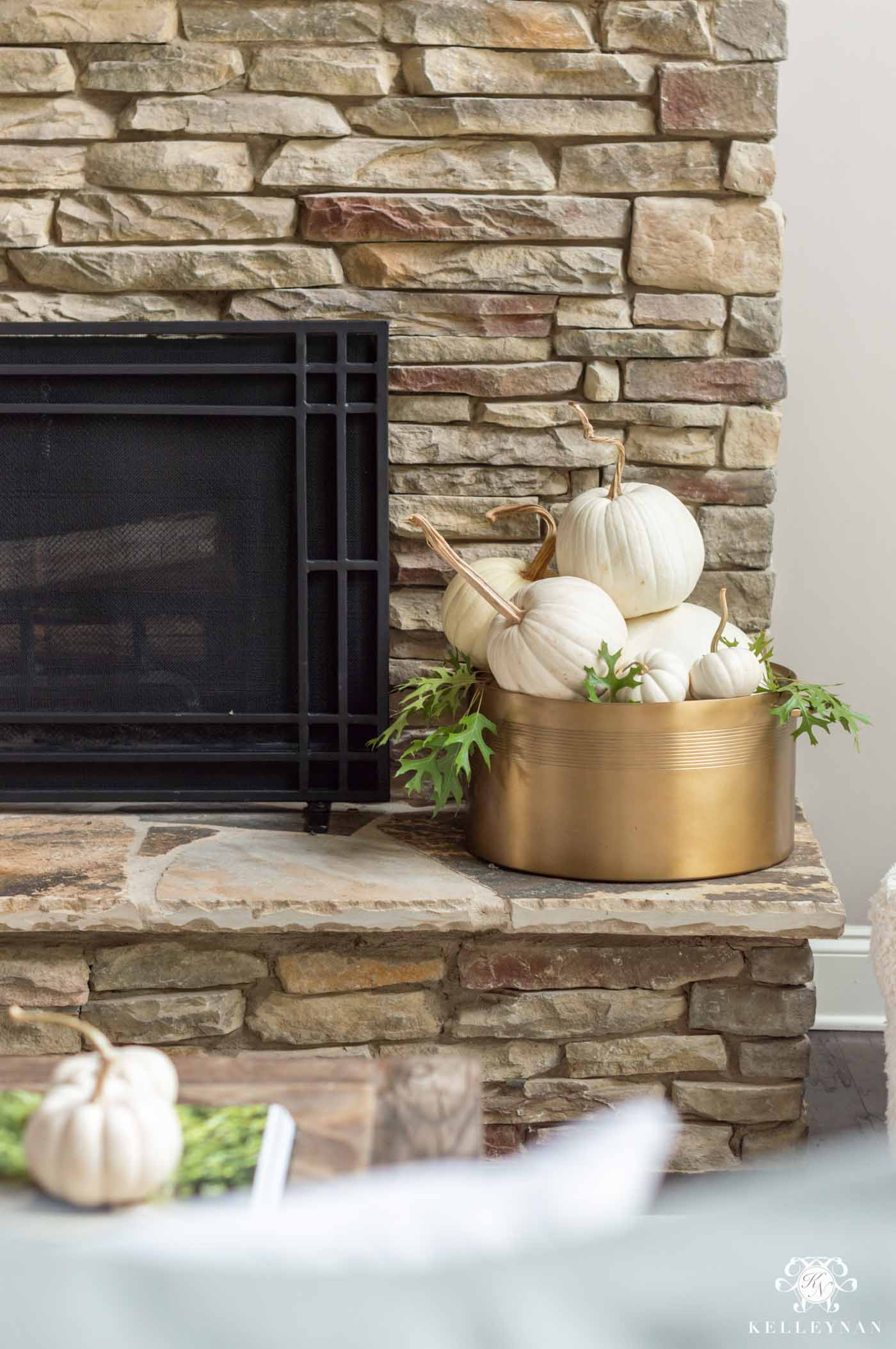 Easy Fall Fireplace Decor