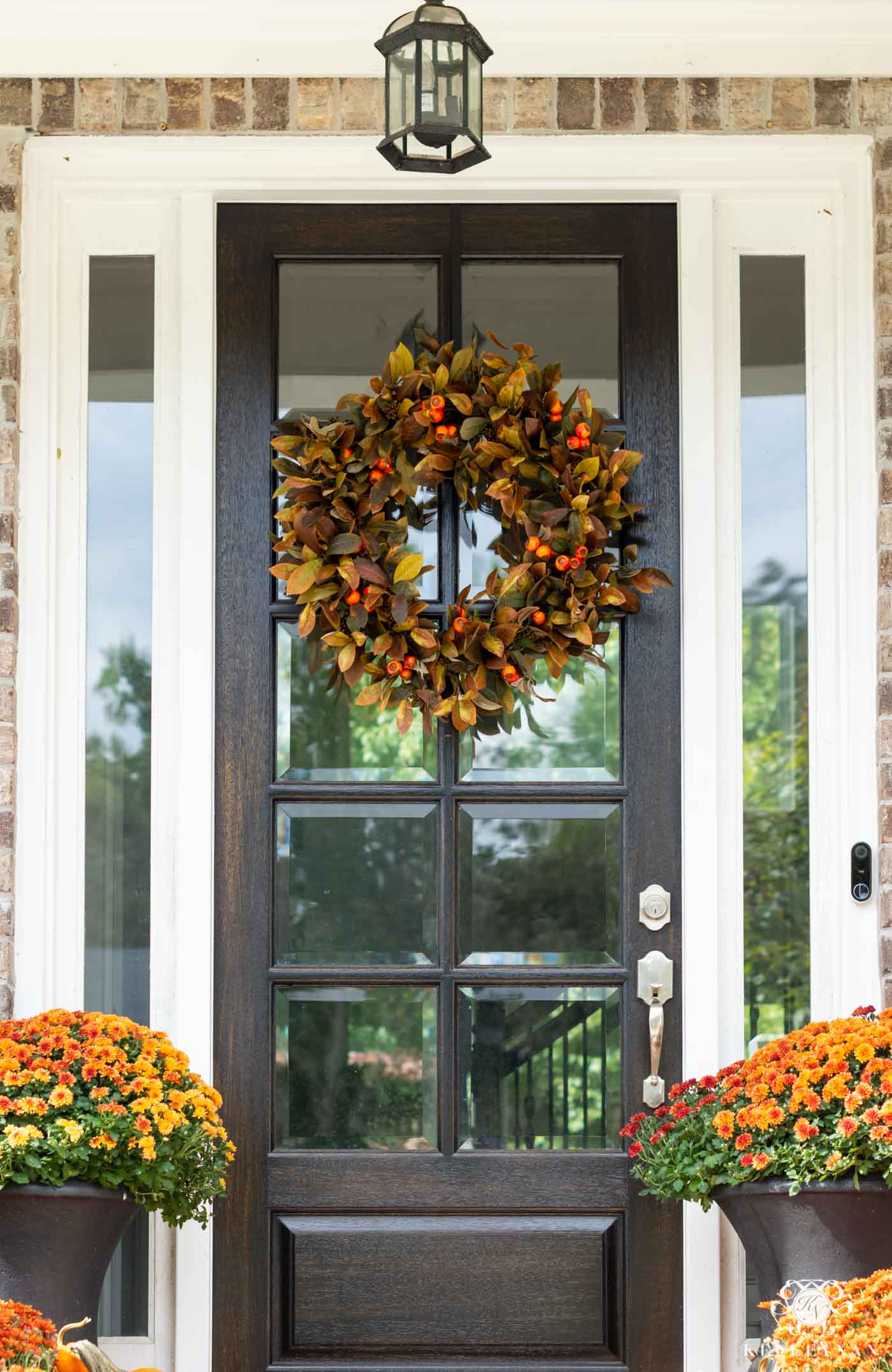 Fall Front Door Wreath with Orange and Green Color Scheme