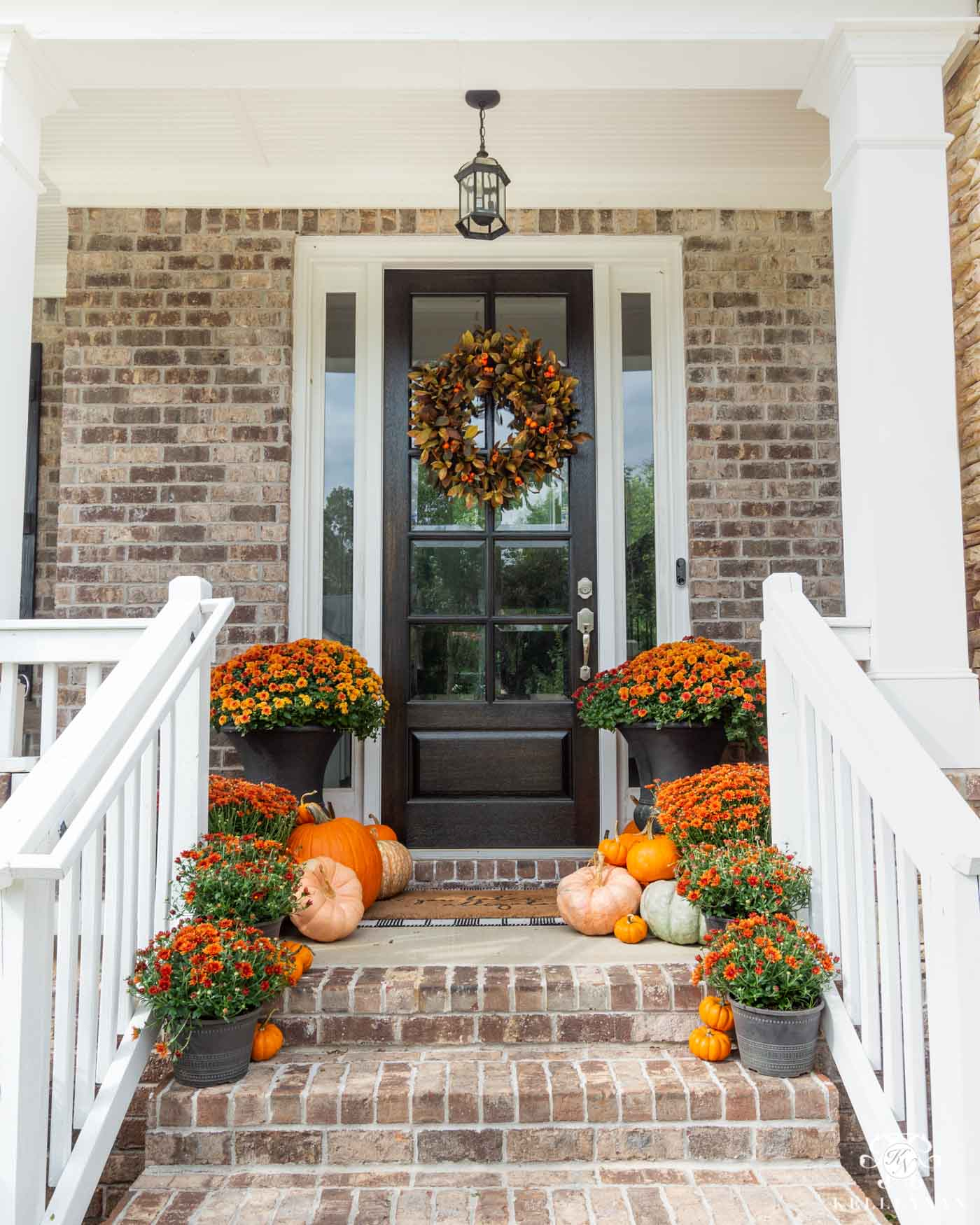 Fall Outdoor Decor and Front Porch Steps