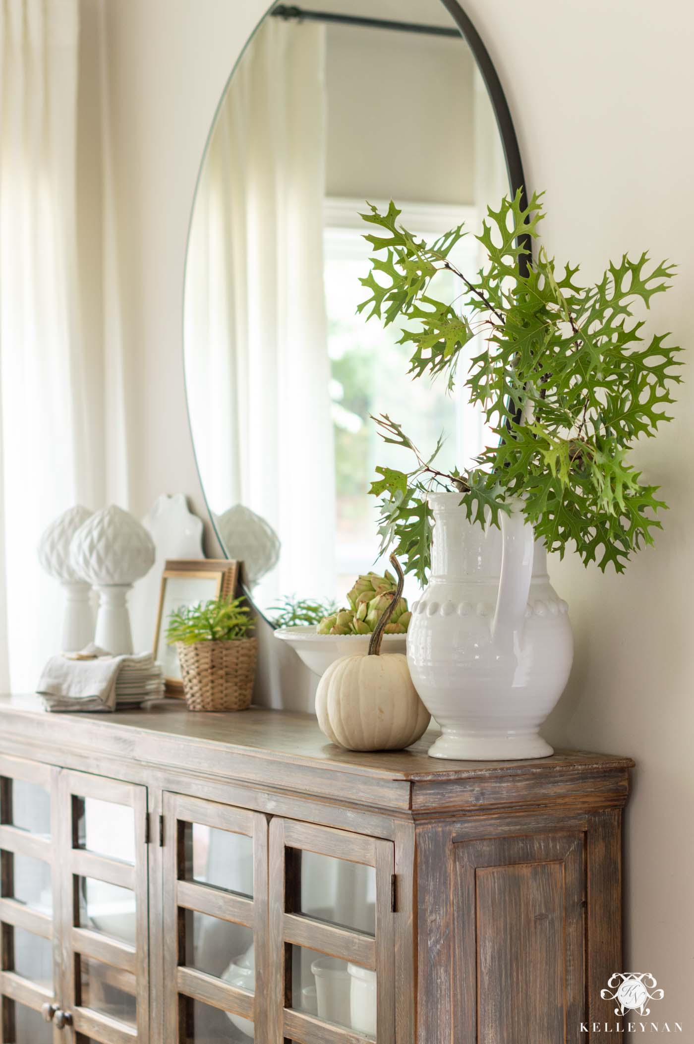 Fall Home Decor Ideas with Green Leaves
