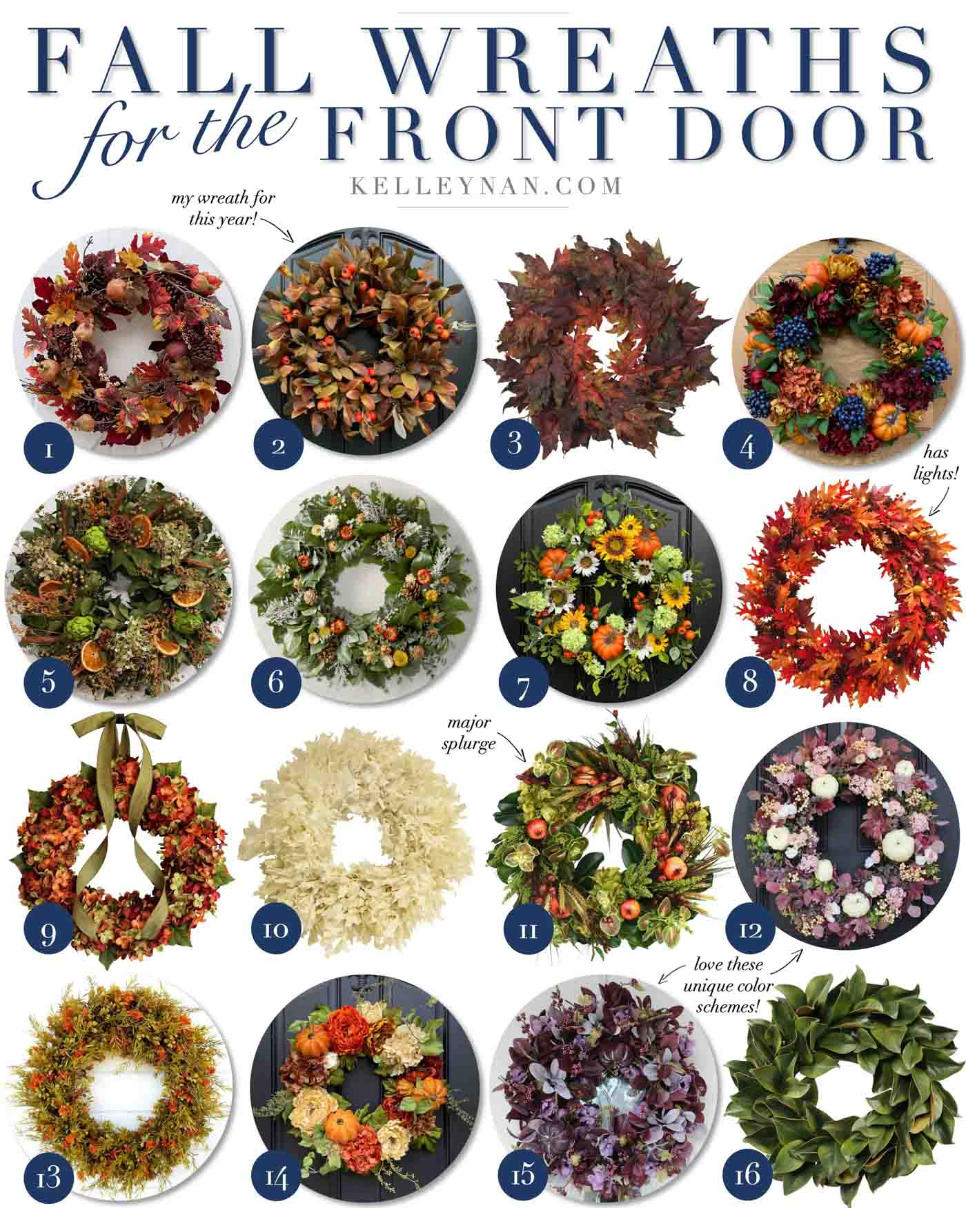 Favorite Fall Wreaths for the Front Door for 2020
