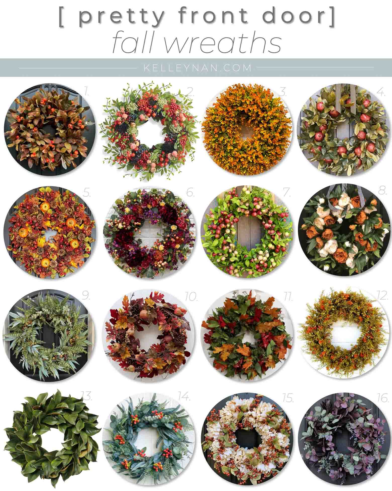 16 Pretty Fall Wreaths for the Front Door