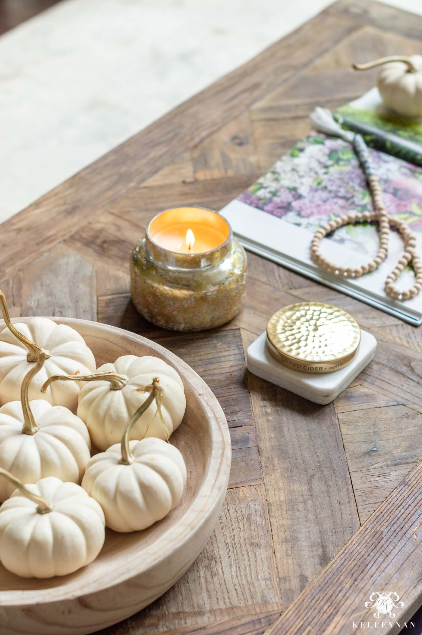 Fall Living Room Decor and Coffee Table Details
