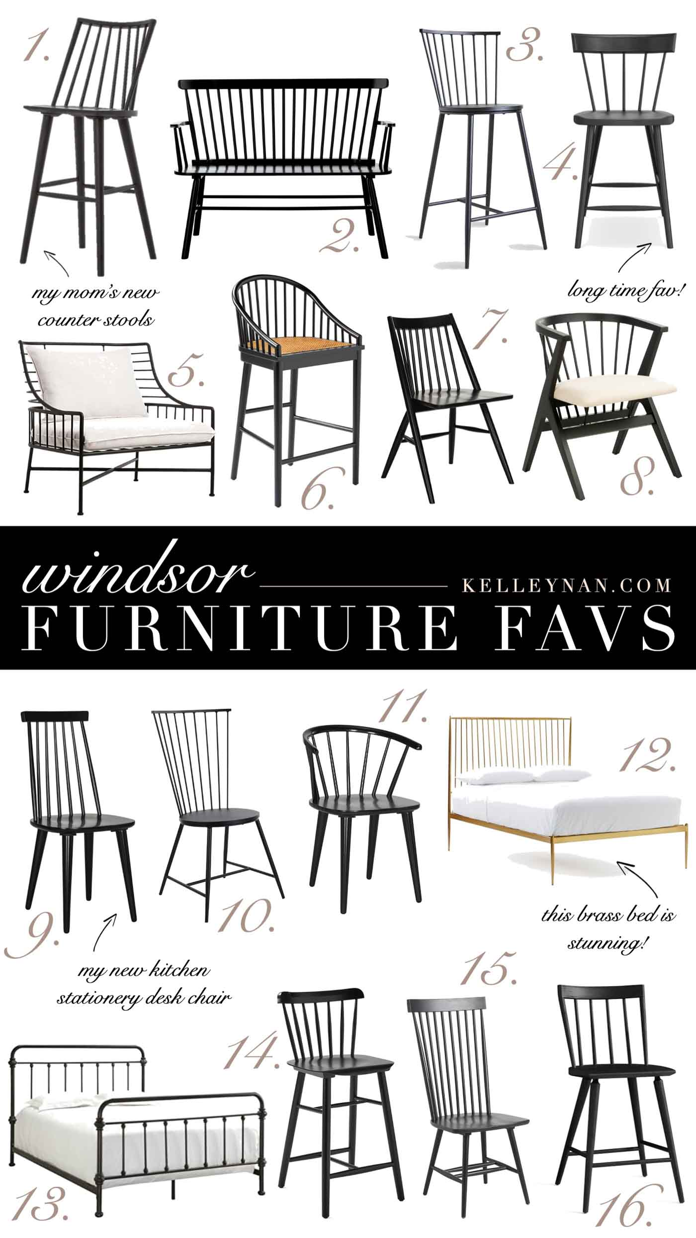 The Best Black Windsor Chairs, Stools, Benches and Other Windsor Style Furniture Favs!