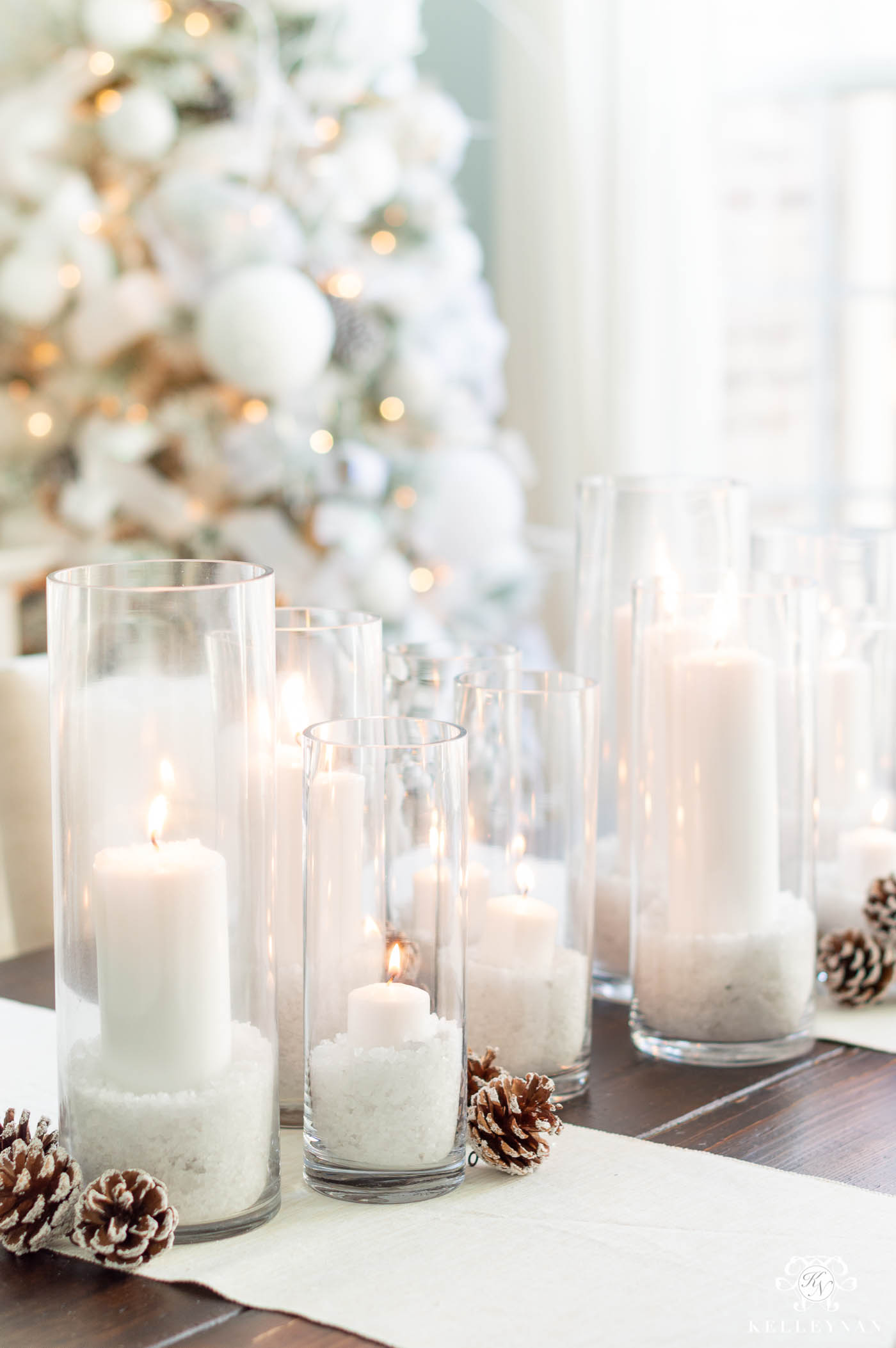 Snowy Christmas Dining Room Table Centerpiece and Christmas Decorations