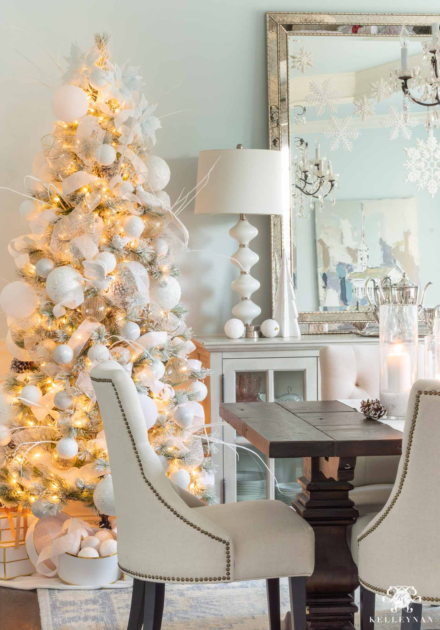 Pair of Snowy White and Blue Christmas Trees in the Dining Room -- Statement Flanking the Sideboard