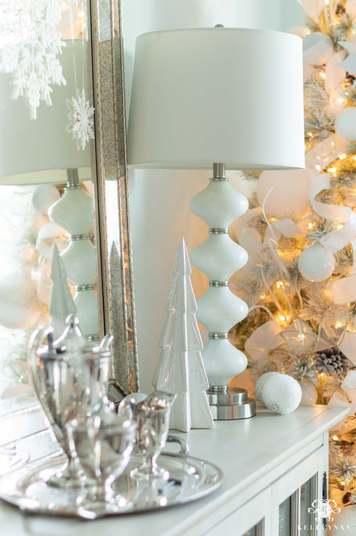 White Christmas Dining Room Decor -- With a Pair of Flocked Christmas Trees!