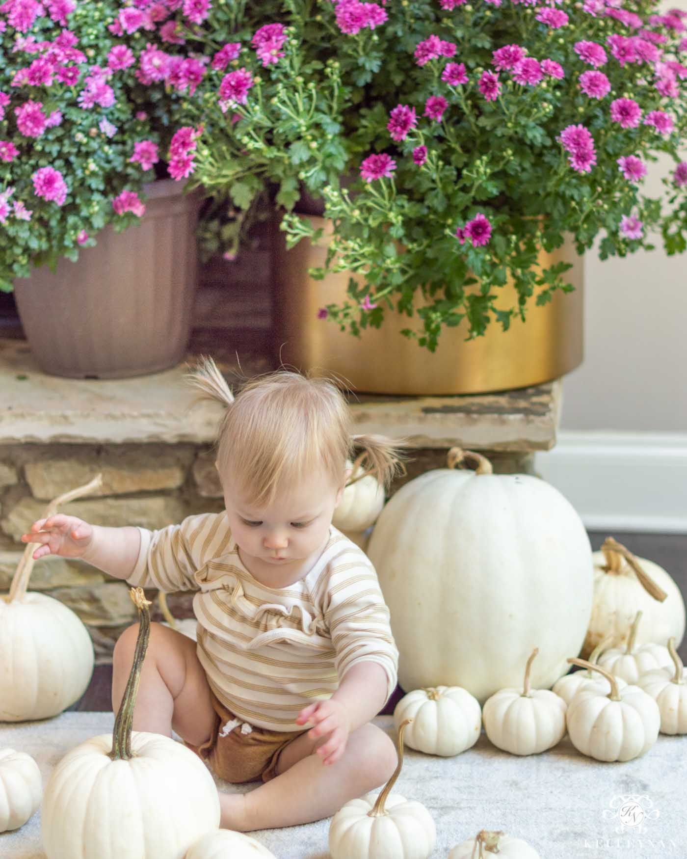 Fall Fireplace Decorating Ideas with White Pumpkins and Purple Mums