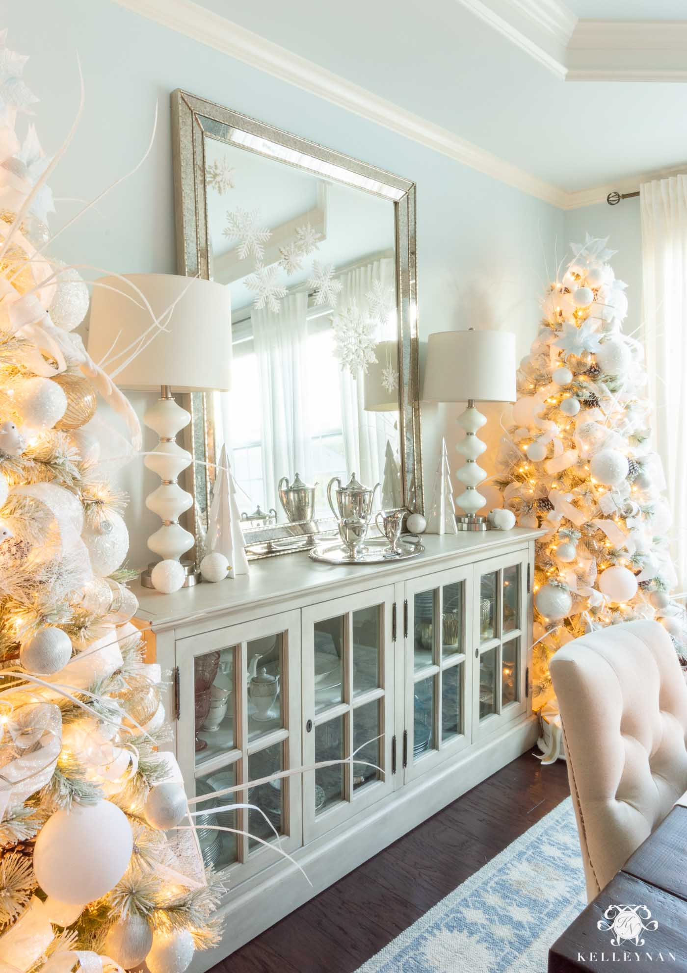 Christmas Decor in the Dining Room -- Matching Flocked Christmas Trees!