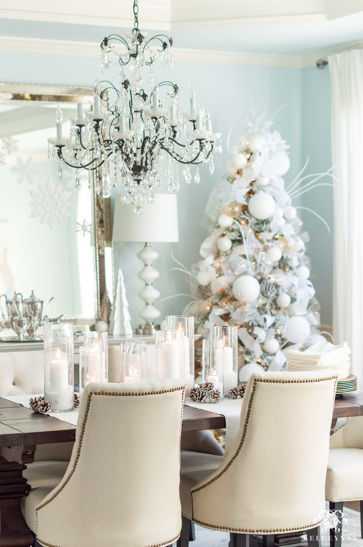 Snowy White and Icy Blue Dining Room Christmas Decor