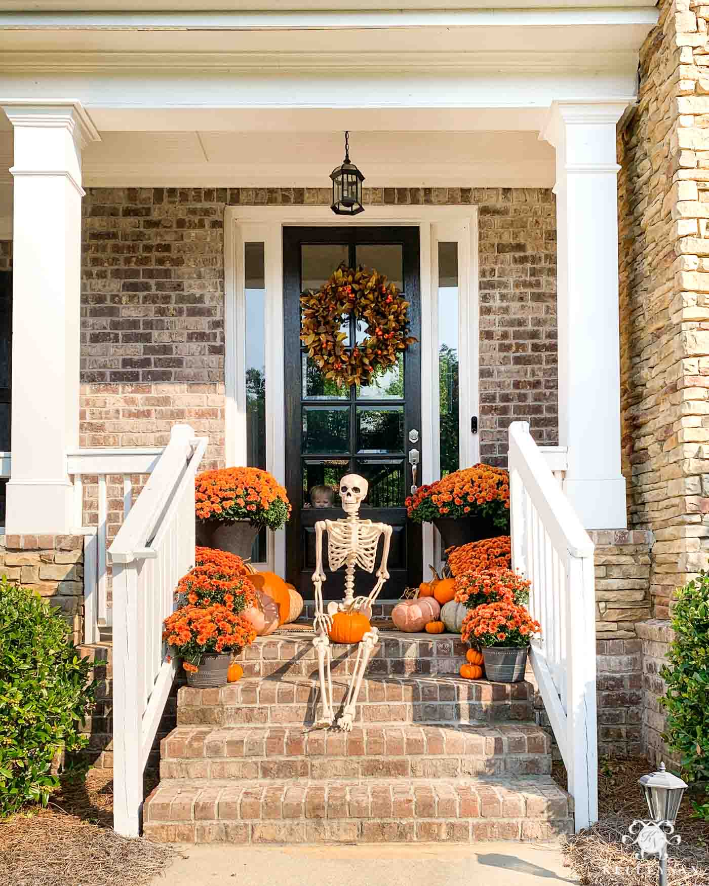 Happy Halloween Porch with Bones Skeleton and Mums