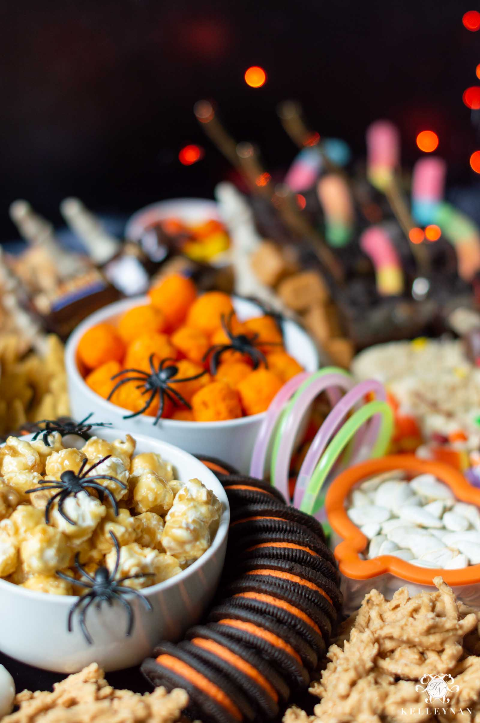 Trick or Treat Snack Board -- Halloween Charcuterie Board Style Spooky Snacks
