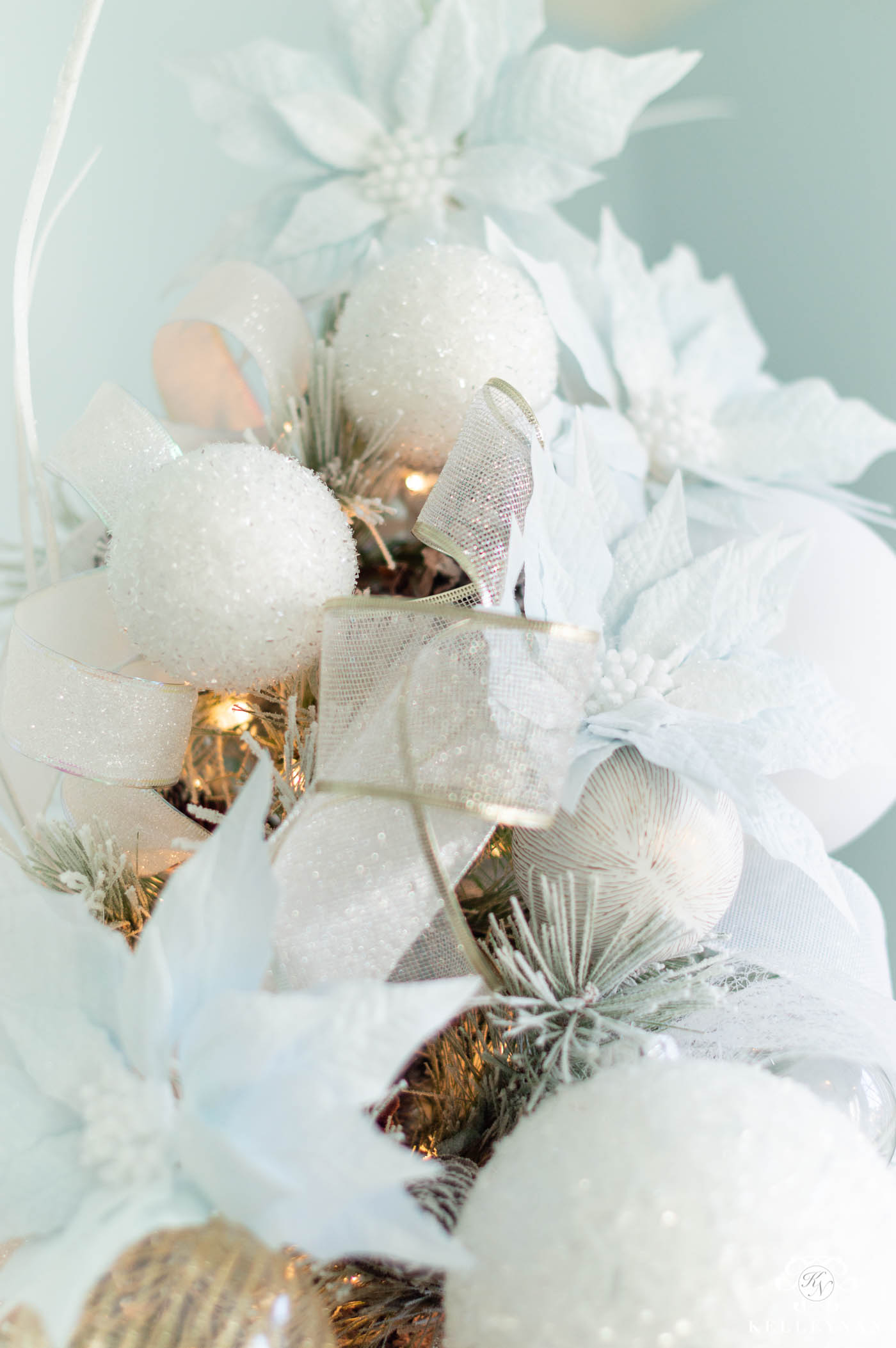 Pale Blue Icy Color Scheme with Snowy White Christmas Tree