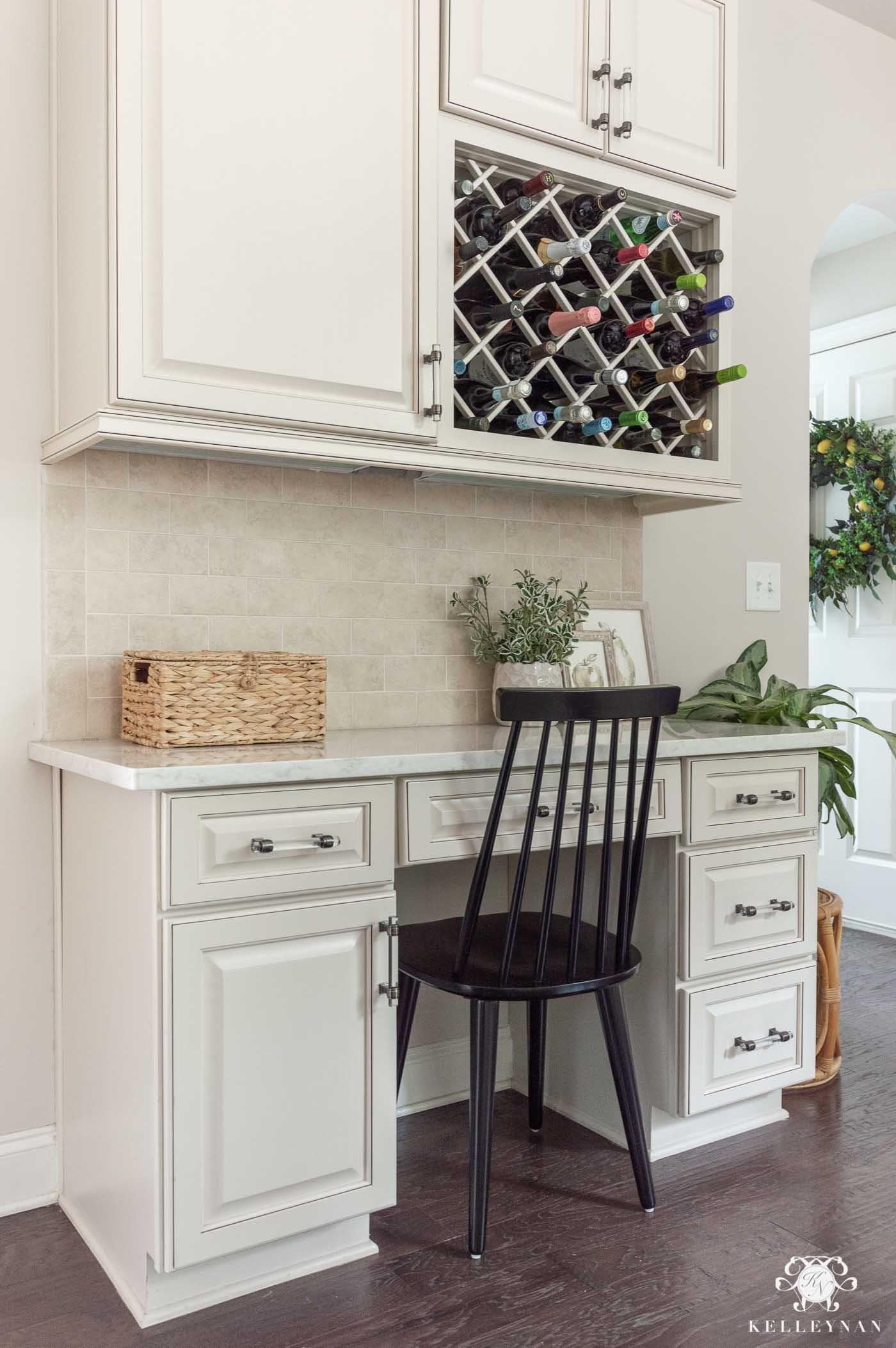 Kitchen Desk Area Inspiration with Wine Lattice
