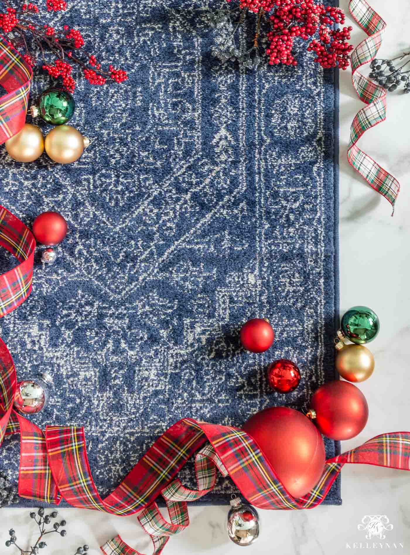Christmas Color Scheme Ideas with Coordinating Rugs