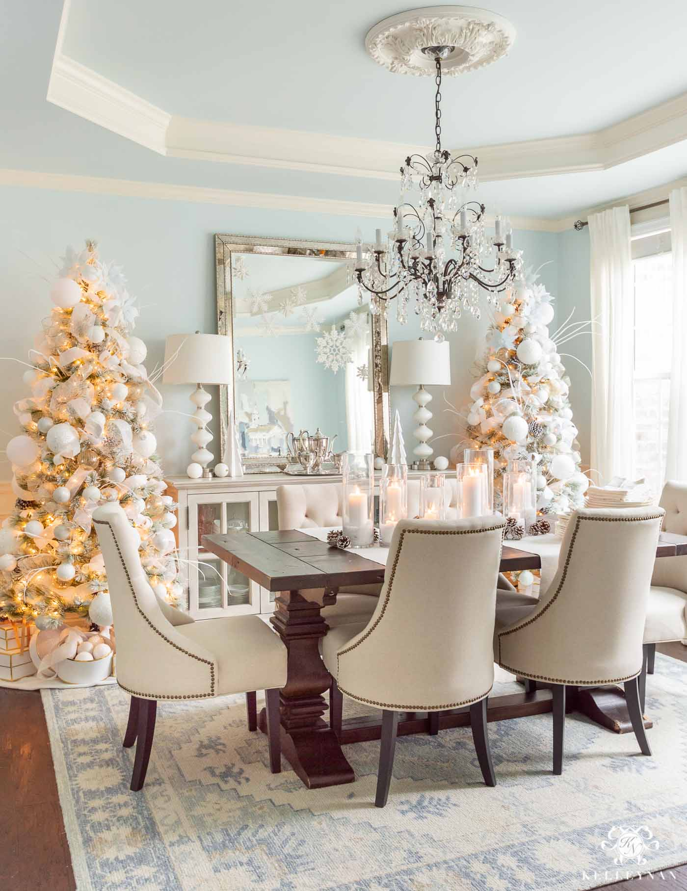 Christmas Decor and Christmas Trees in the Dining Room -- Snowy White and Icy Blue