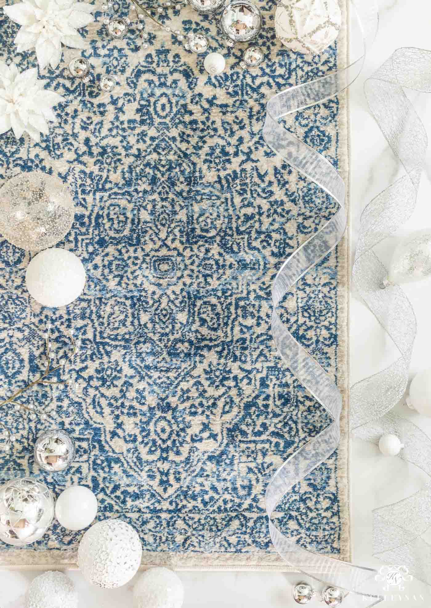 Blue and White Christmas Color Inspiration with Coordinating Rugs