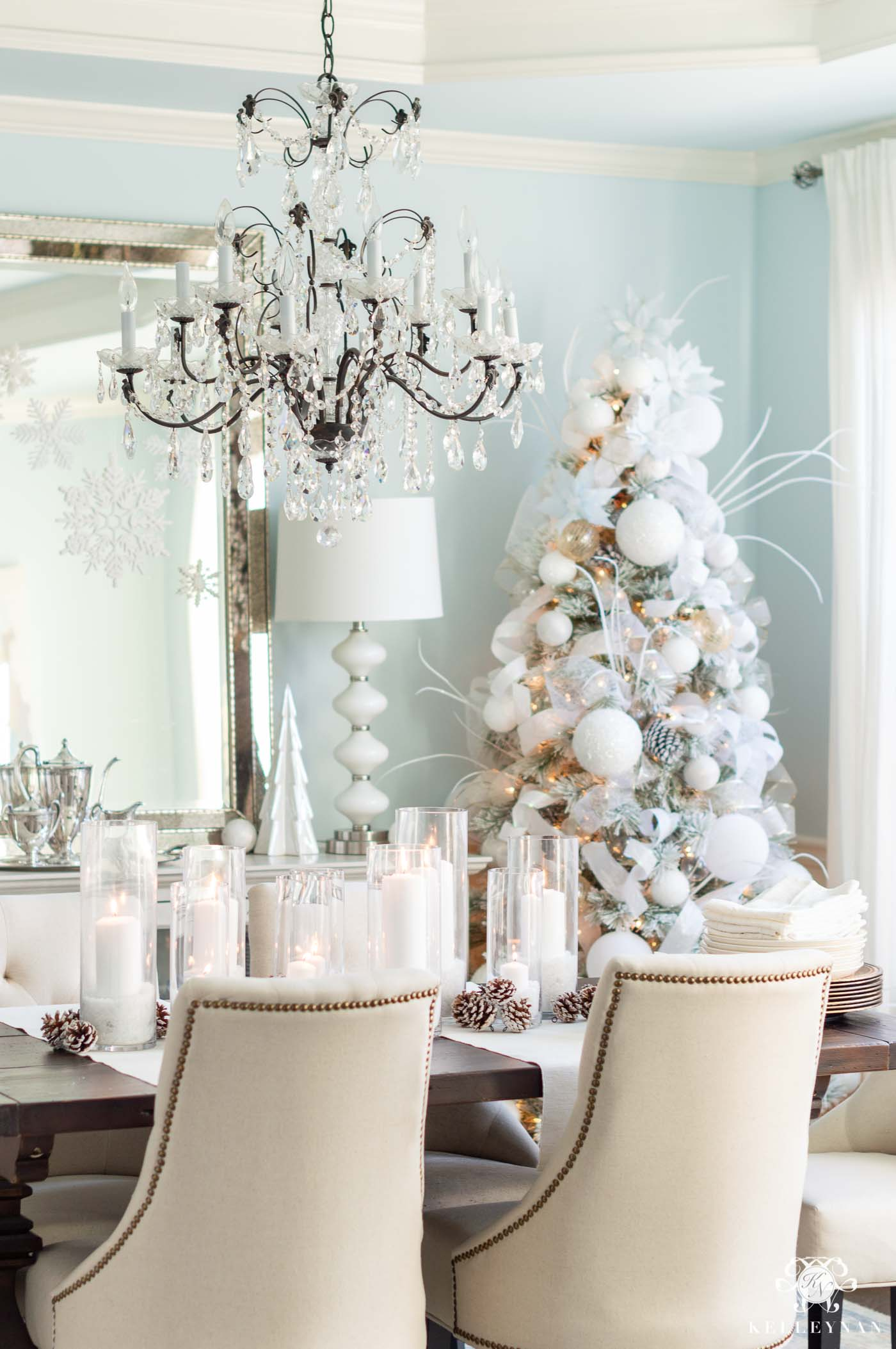 Frosty Christmas Decor in the Dining Room with Christmas Trees!