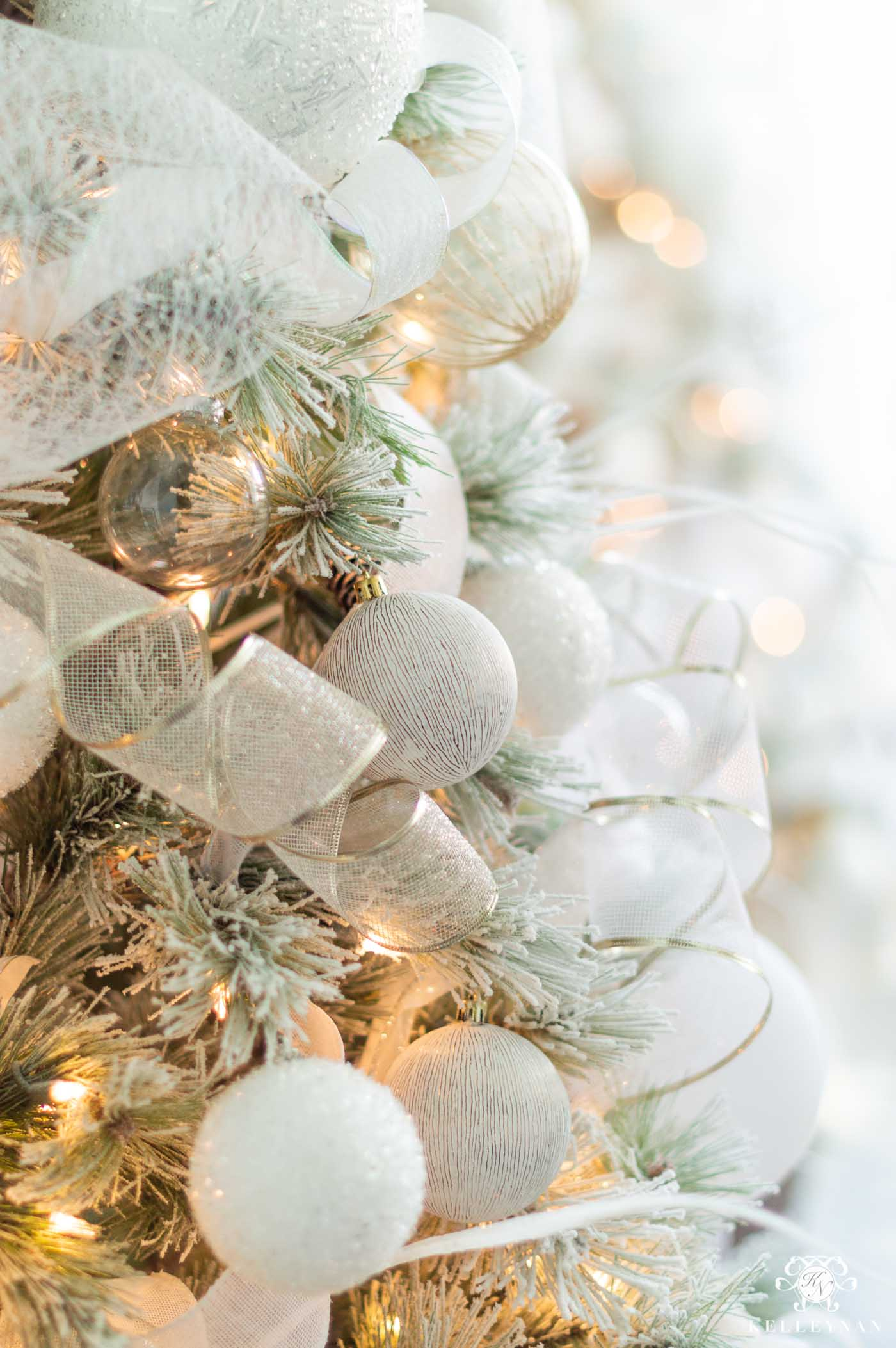 Elegant White and Pale Blue Christmas Tree Decor