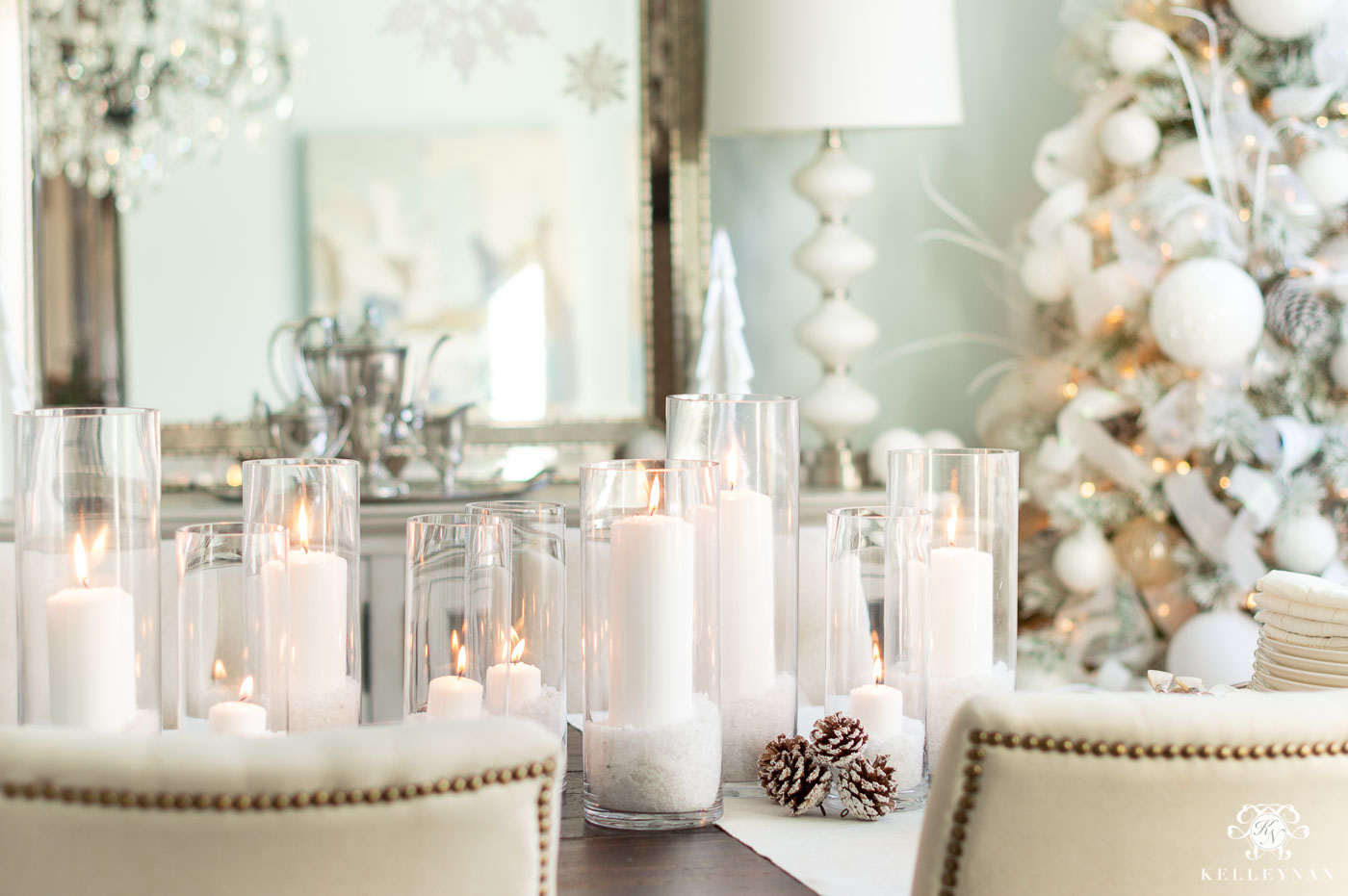Simple Candle Centerpiece for Christmas Dining Room Centerpiece Decor