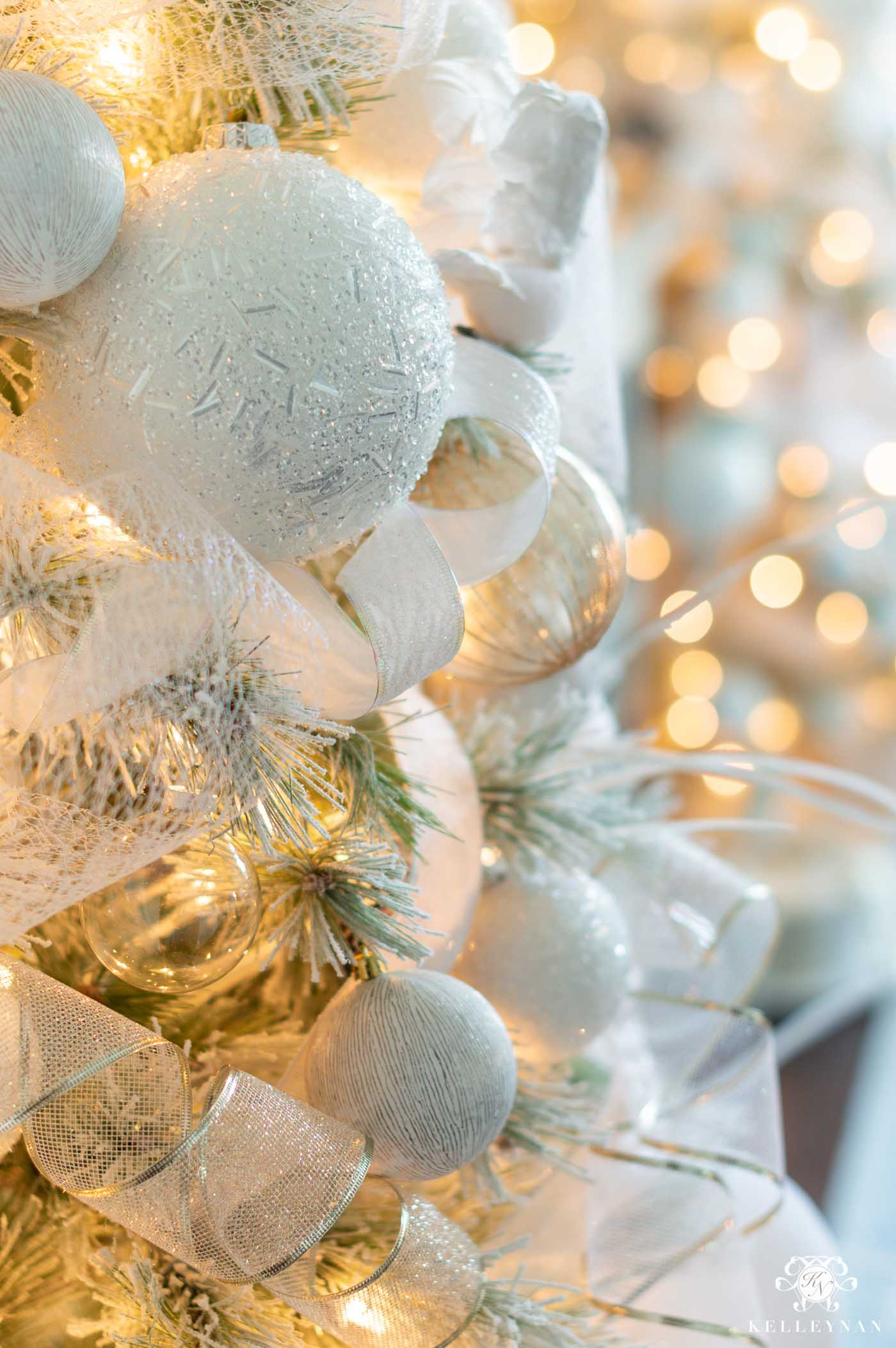 Snowy White Flocked Christmas Trees -- Decorated and Styled in the Dining Room