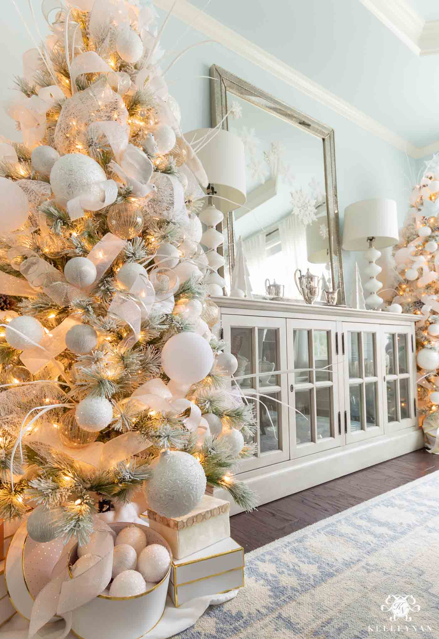 Matching Flocked Christmas Trees! Snowy, Elegant Christmas Decor