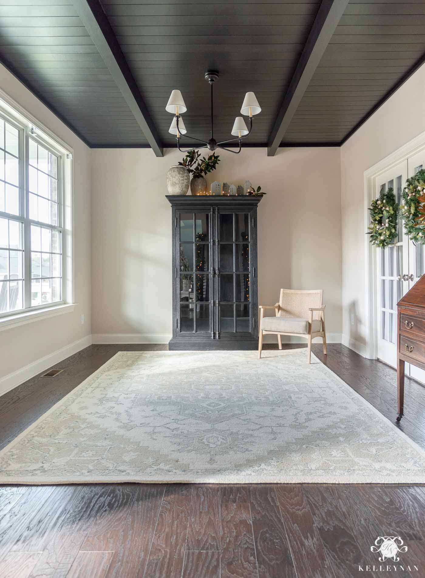 Black Shiplap Ceiling with Beams -- Conversation Room Makeover Update!