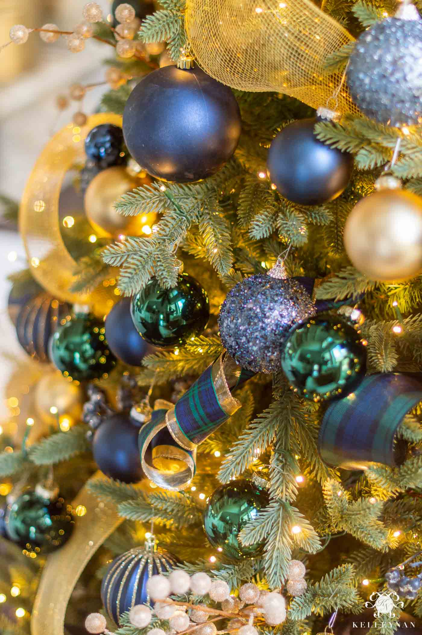 Blue, green and gold christmas tree colors