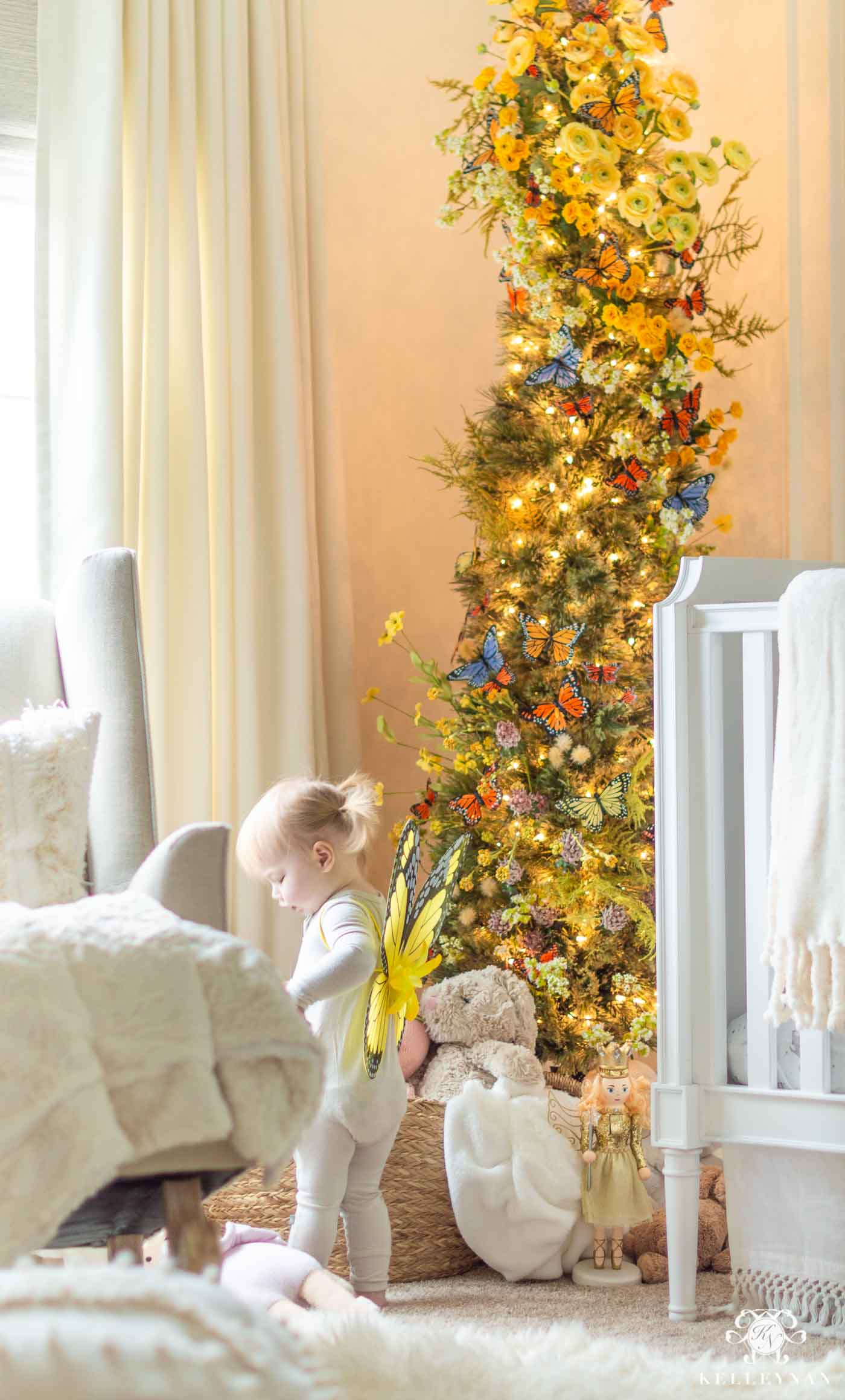 Kids Christmas Bedroom with a Butterfly and Flower Christmas Tree