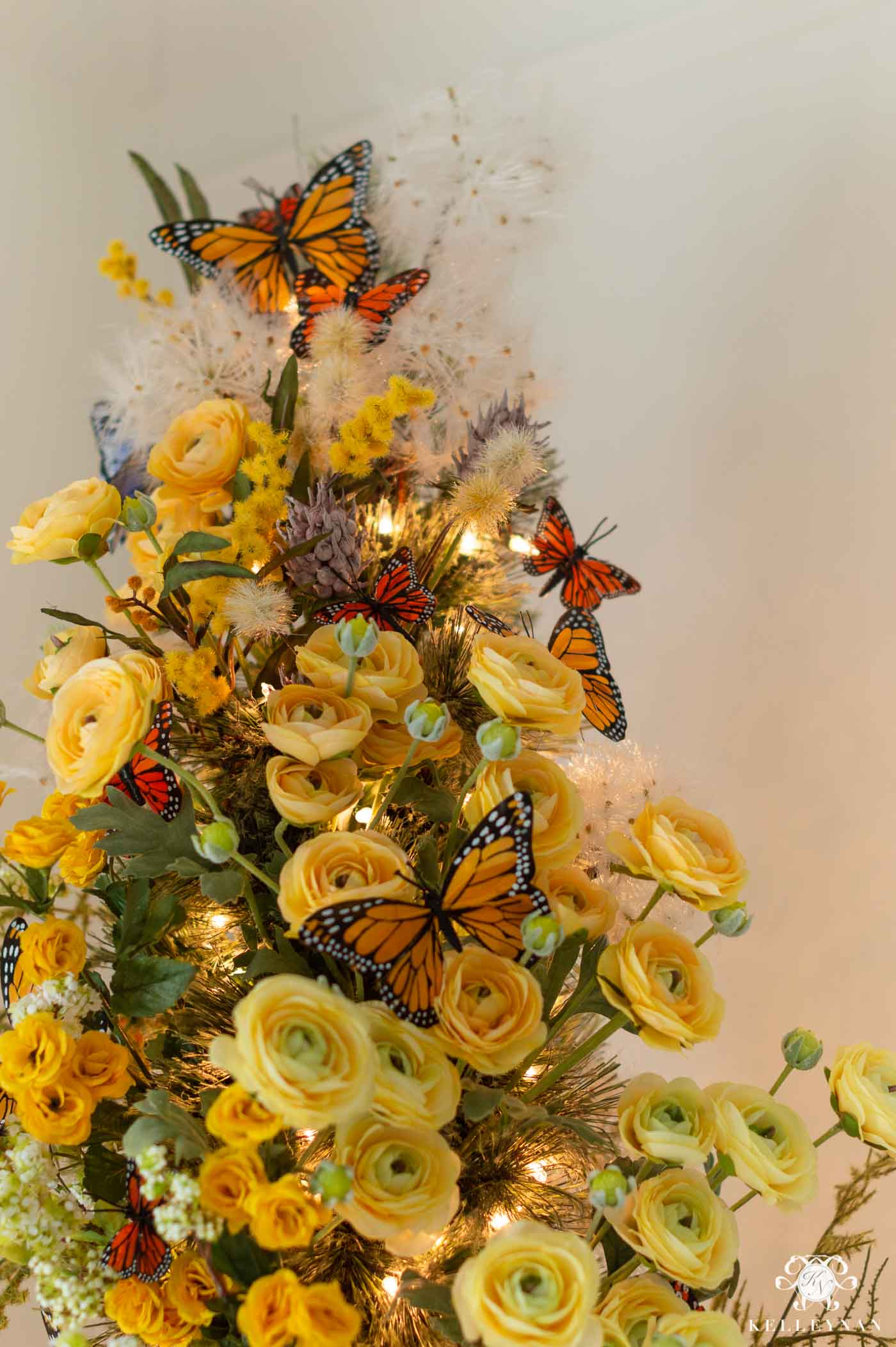 Butterfly and Floral Christmas Tree Decor