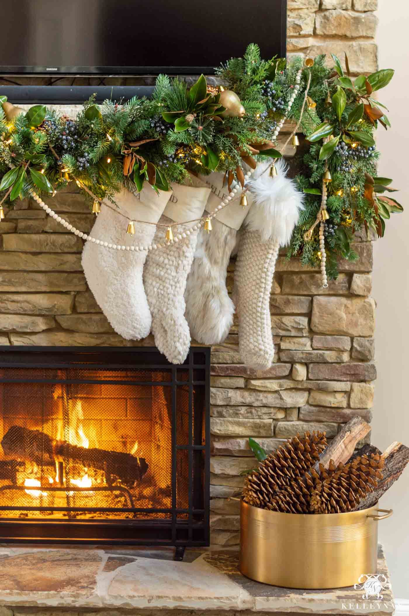 Stone Fireplace Christmas Decor and Mantel Garland with Fur Stockings