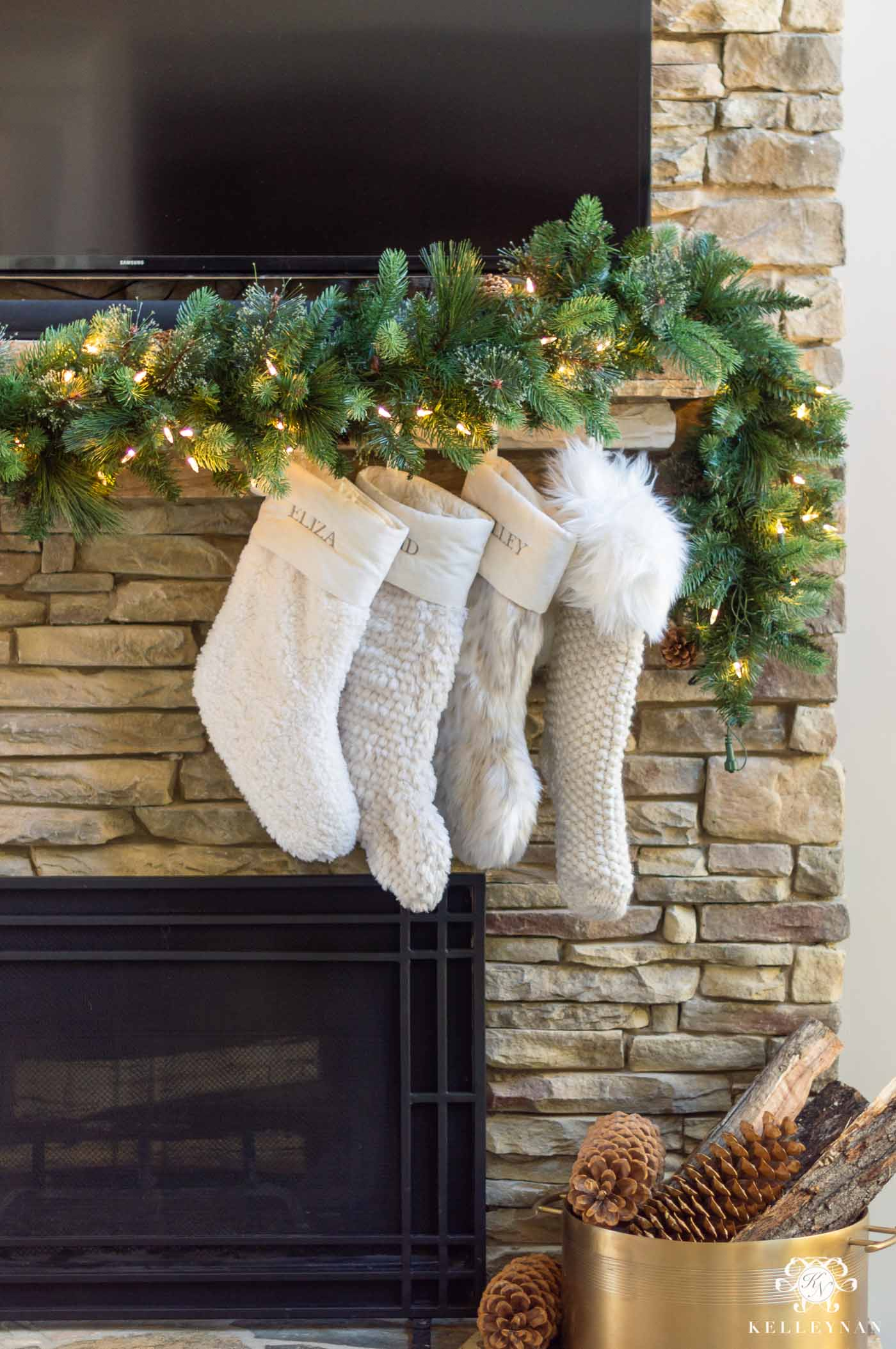 How to Hang Mantel Garland with a TV Above the Fireplace