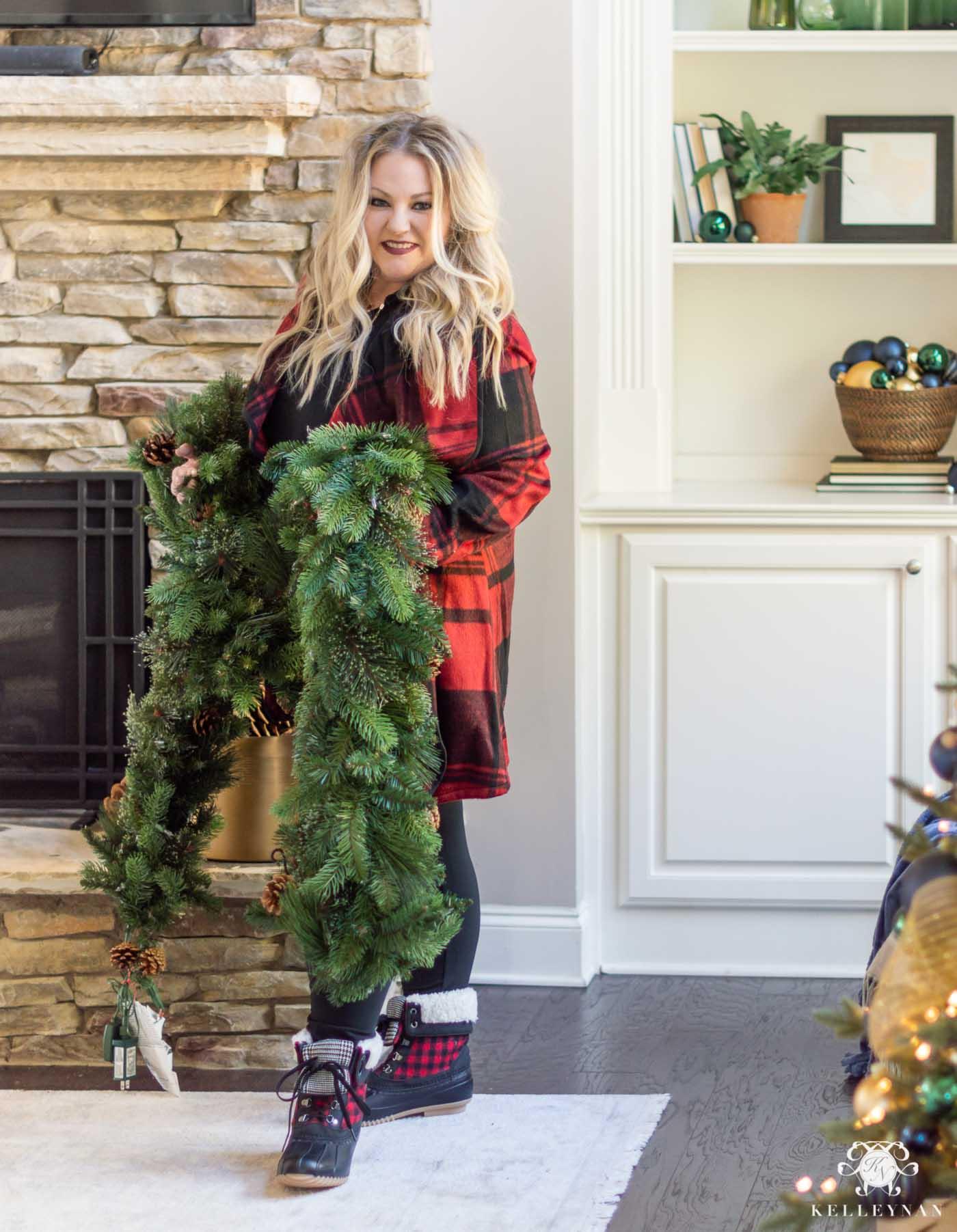 Christmas Fireplace Mantel Garland Tutorial