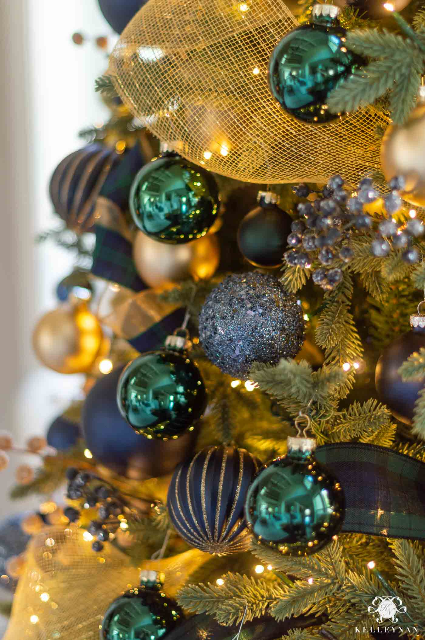 Christmas Tree Decor with Ornament Balls and Mesh Ribbon